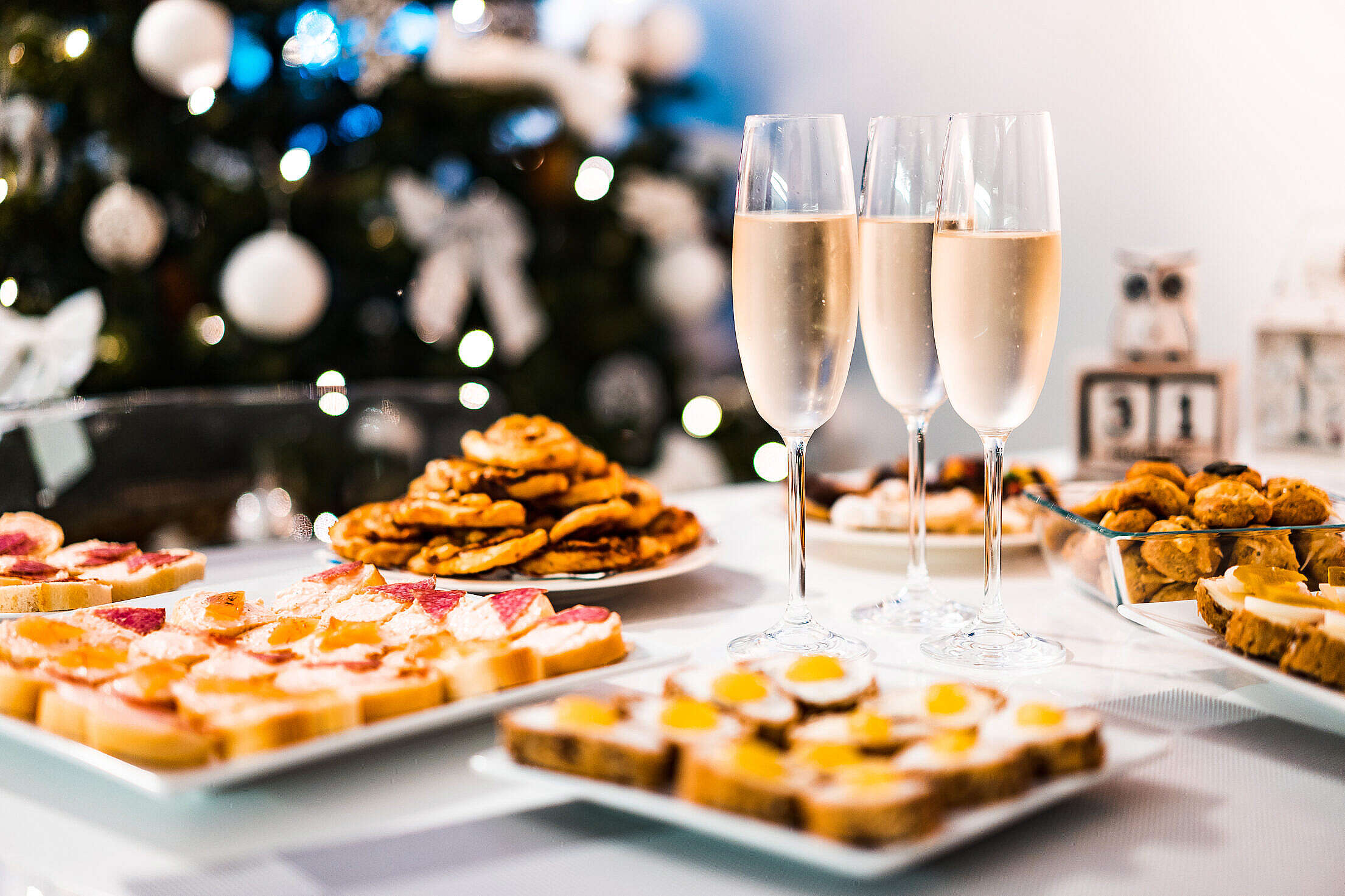 Happy New Year Champagne Home Party Free Stock Photo