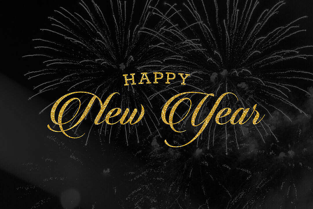 Download Happy New Year Golden Lettering FREE Stock Photo