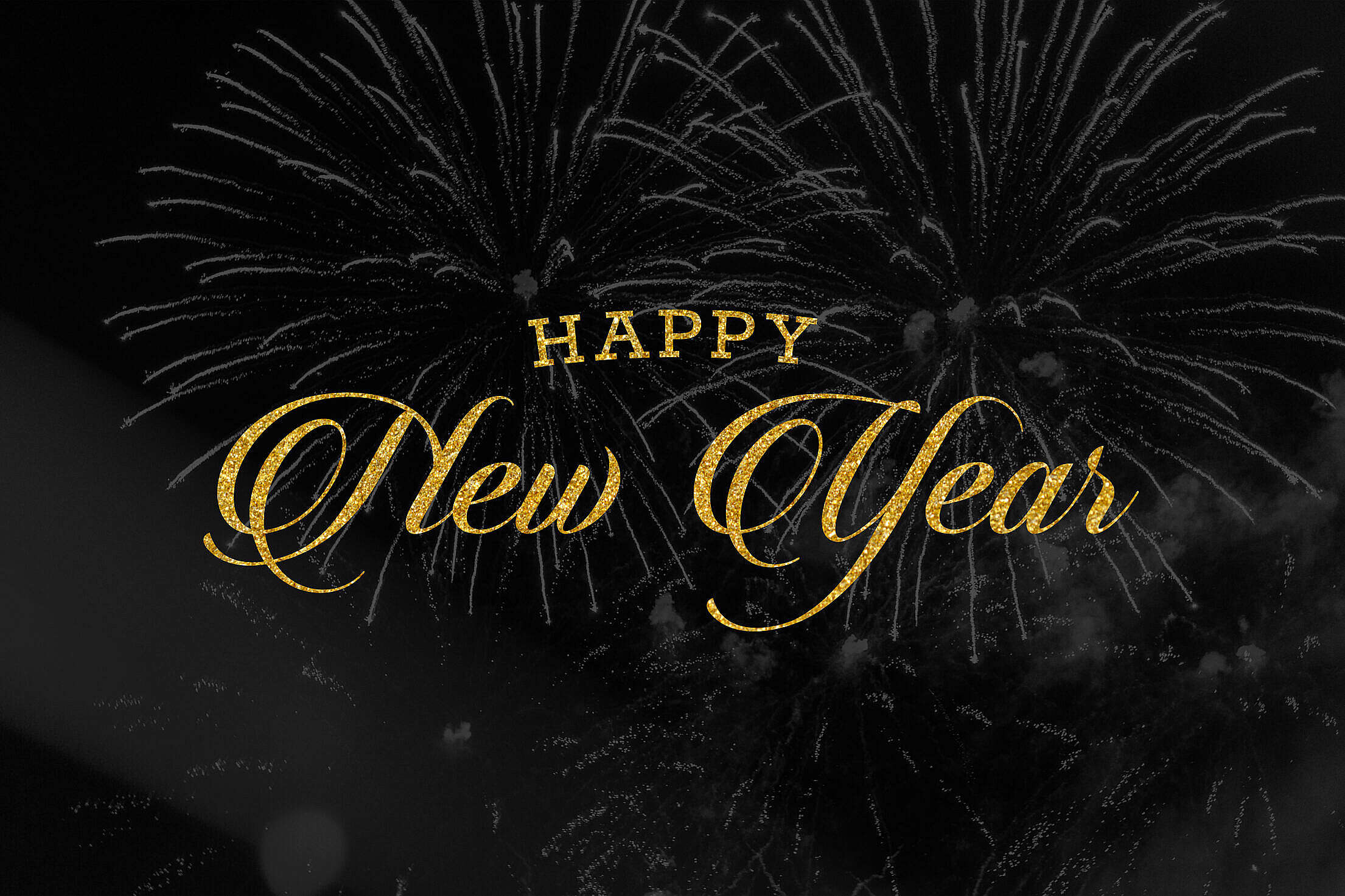 Happy New Year Golden Lettering Free Stock Photo