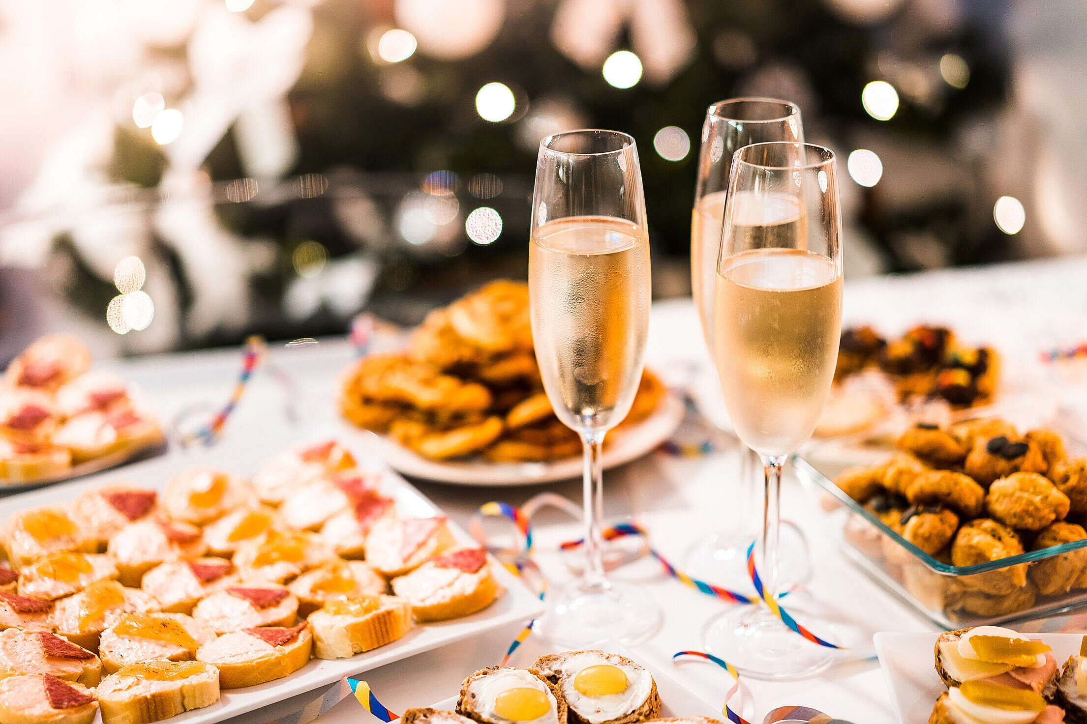 Happy New Year Party Food & Champagne Free Stock Photo