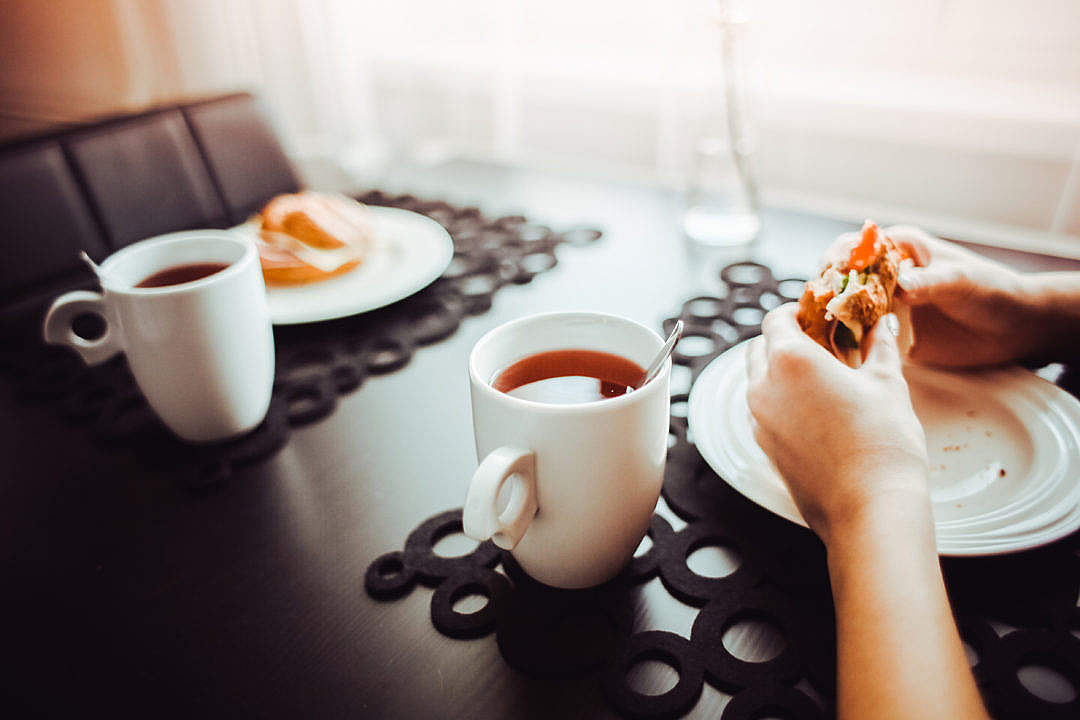 Download Healthy Morning Snack with a Tea FREE Stock Photo