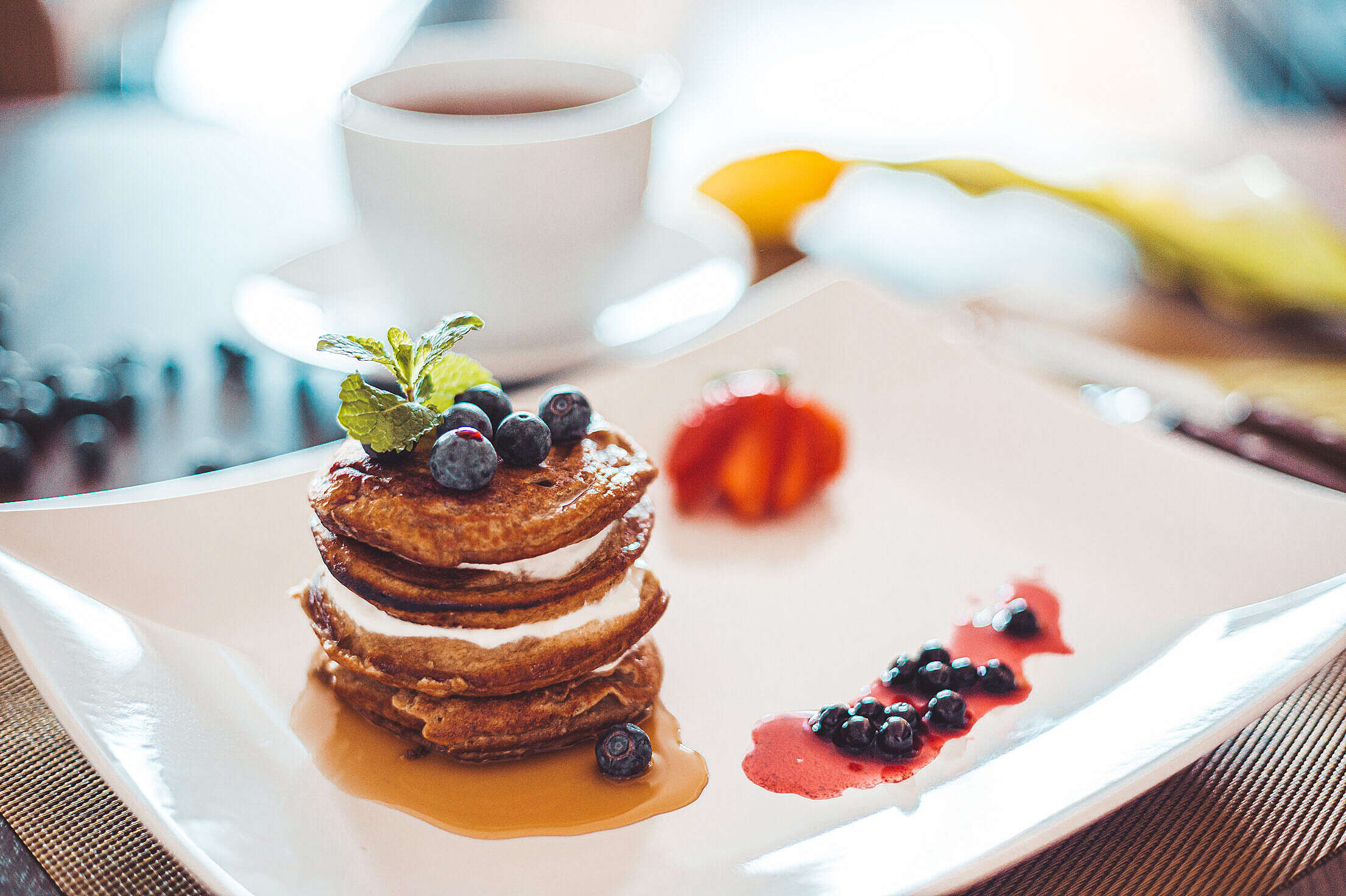 Healthy Pancakes with Cottage Cheese and Blueberries Free Stock Photo