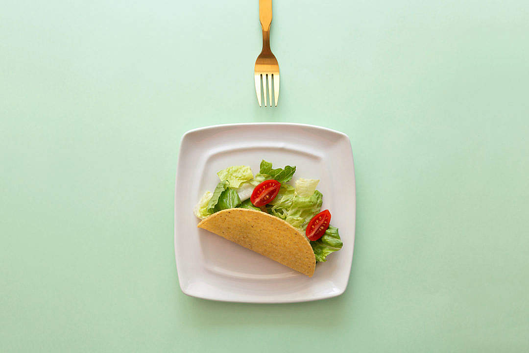 Download Healthy Taco with Fork FREE Stock Photo