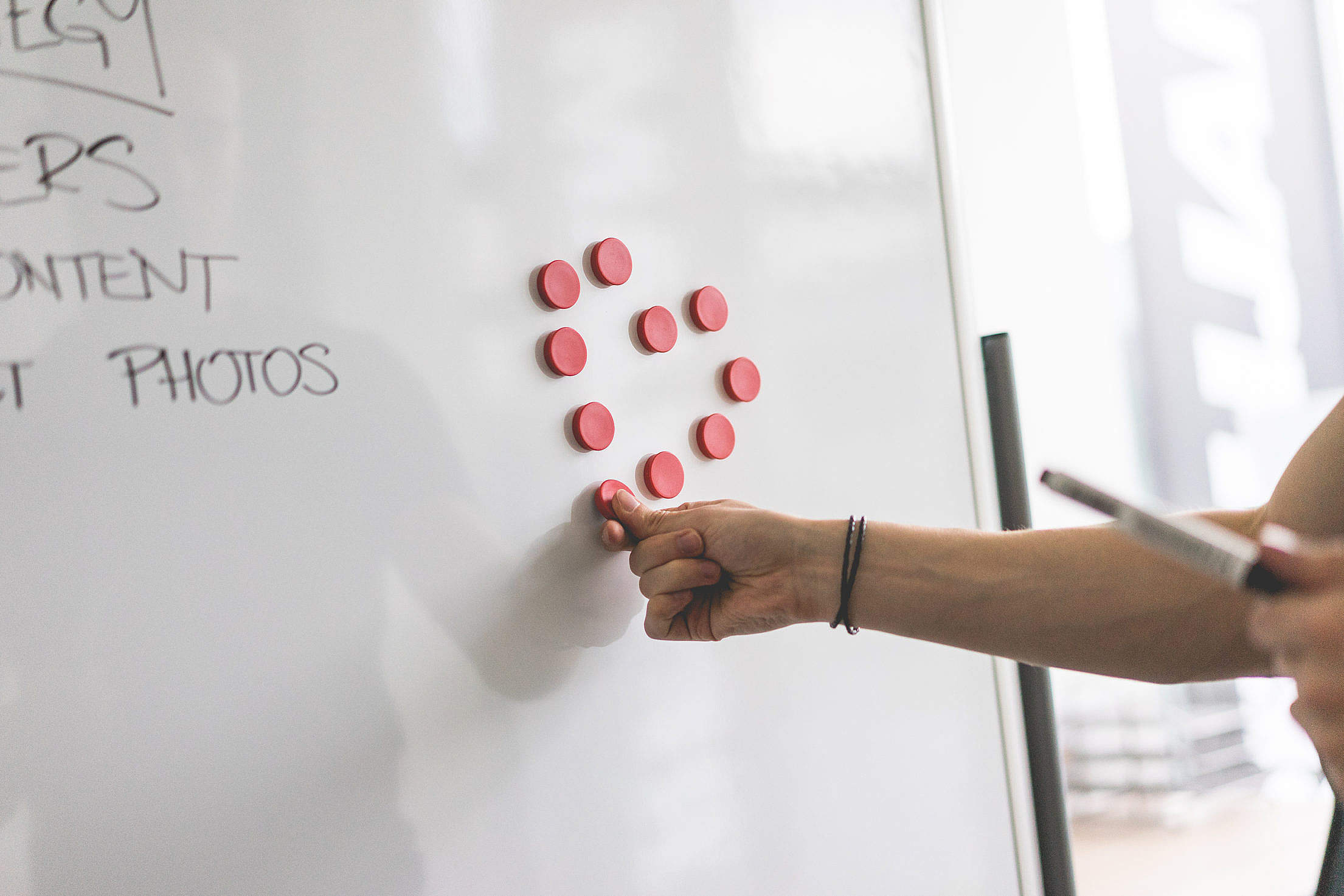 Heart with Whiteboard Magnets Free Stock Photo