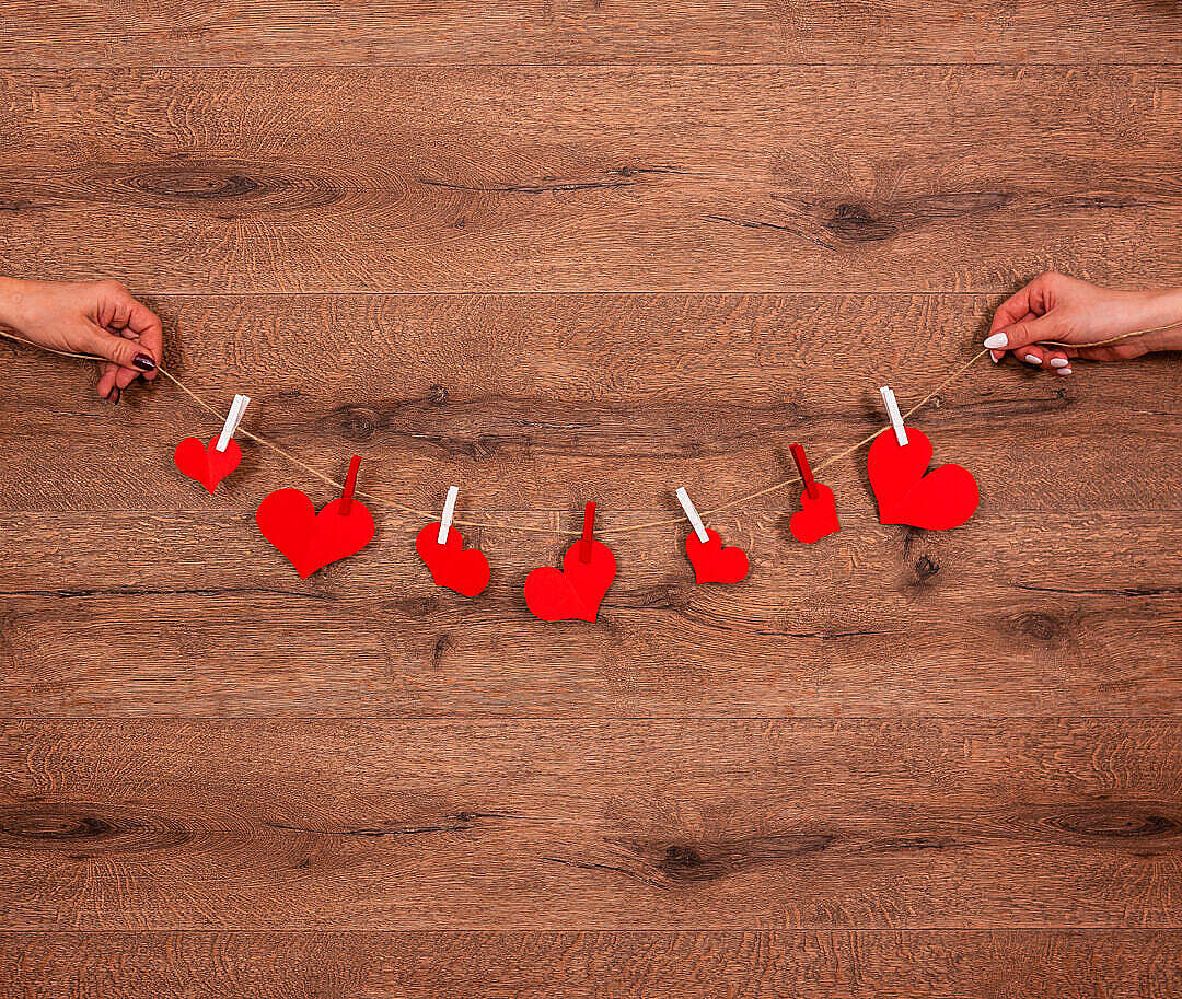 Download Hearts on a String FREE Stock Photo