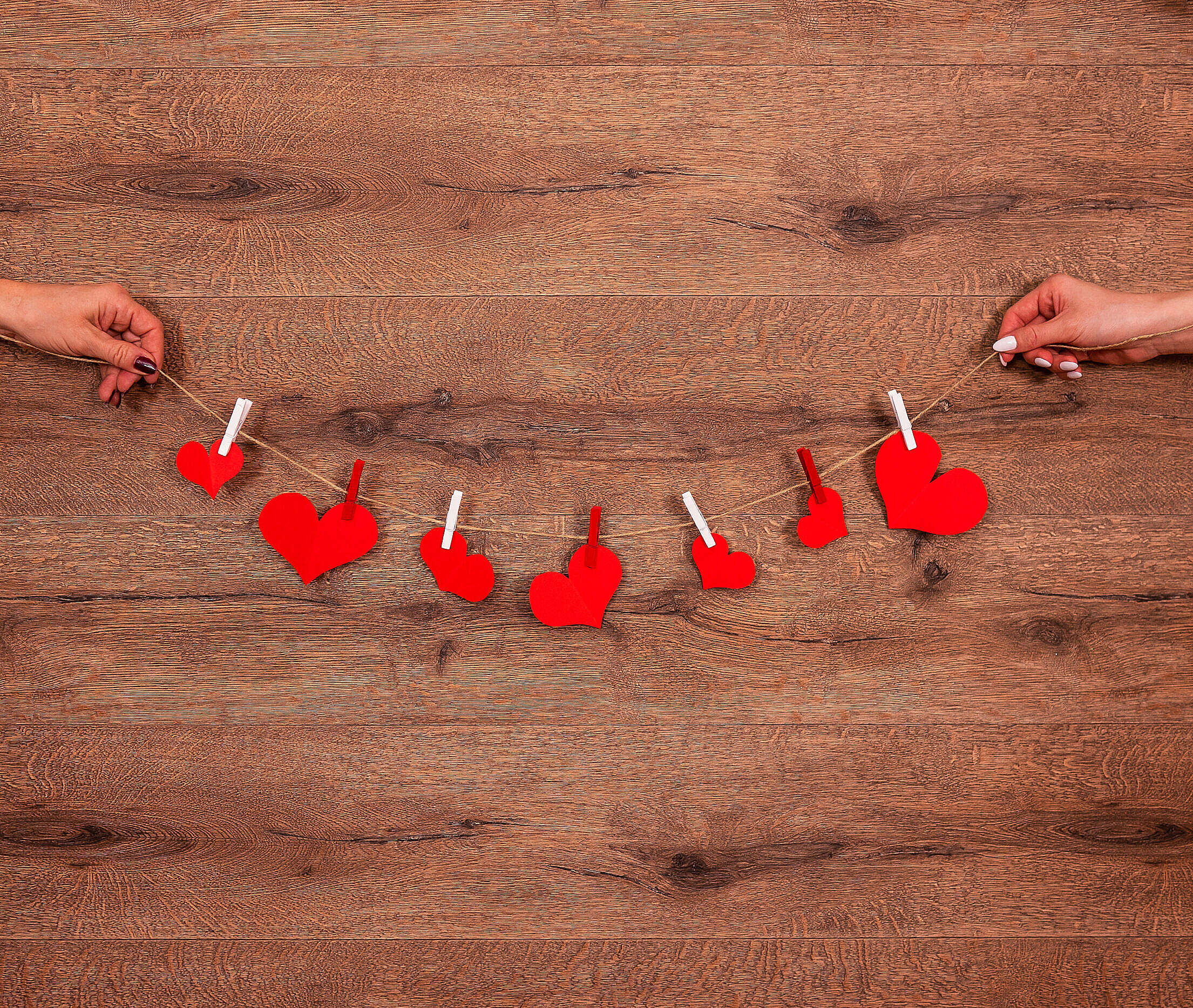Hearts on a String Free Stock Photo