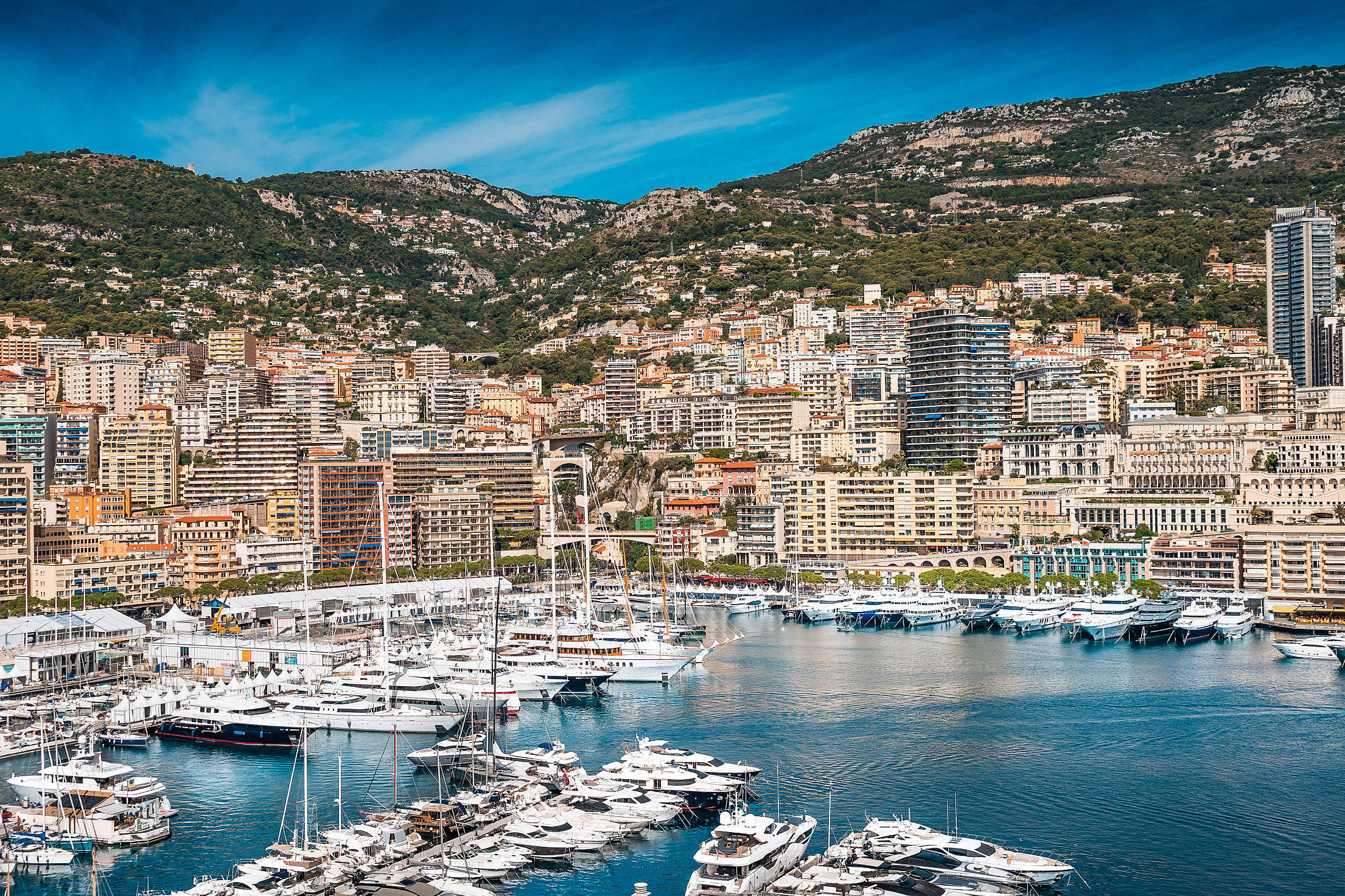 Hercules Port in Monaco with Luxury Yachts Free Stock Photo