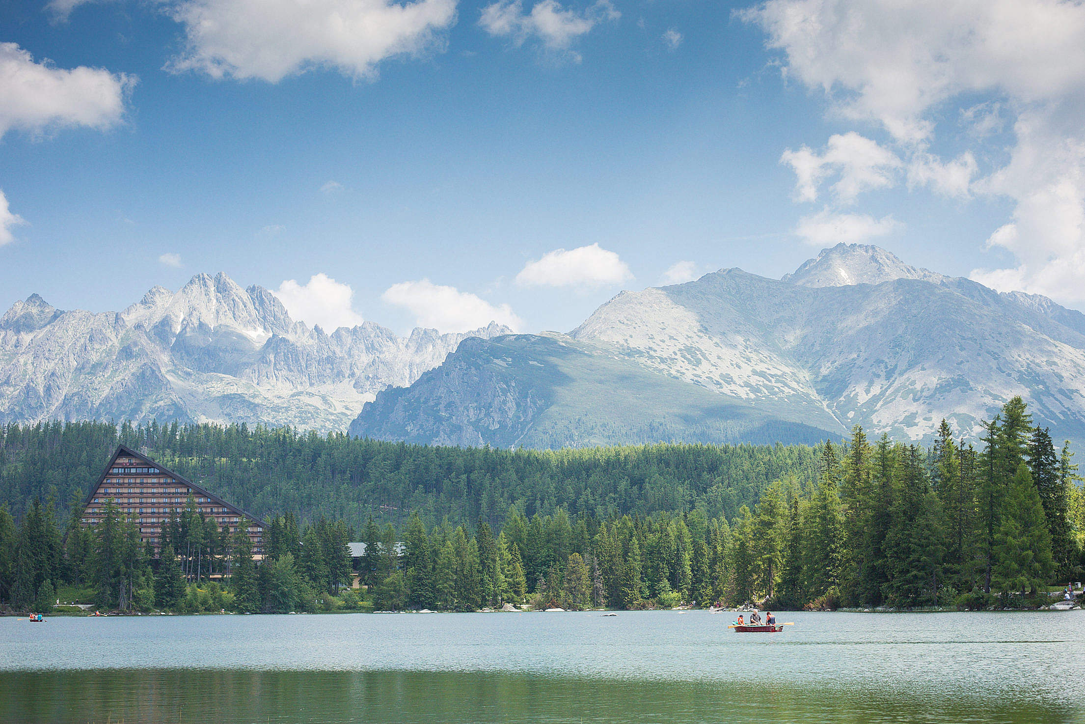 High Tatras Mountains Panorama Scenery with Lake and Woods Free Stock Photo