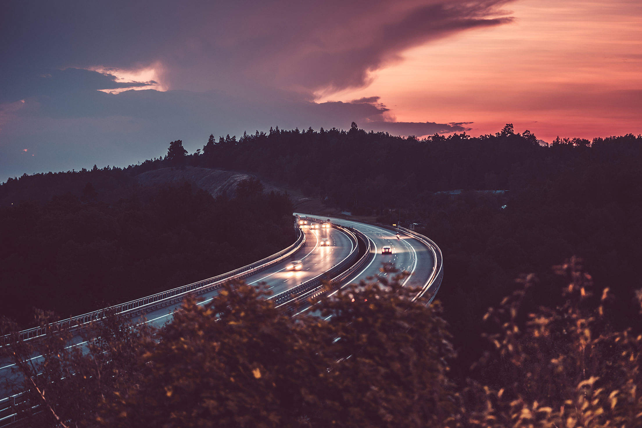 Highway and Evening Dawn Free Stock Photo