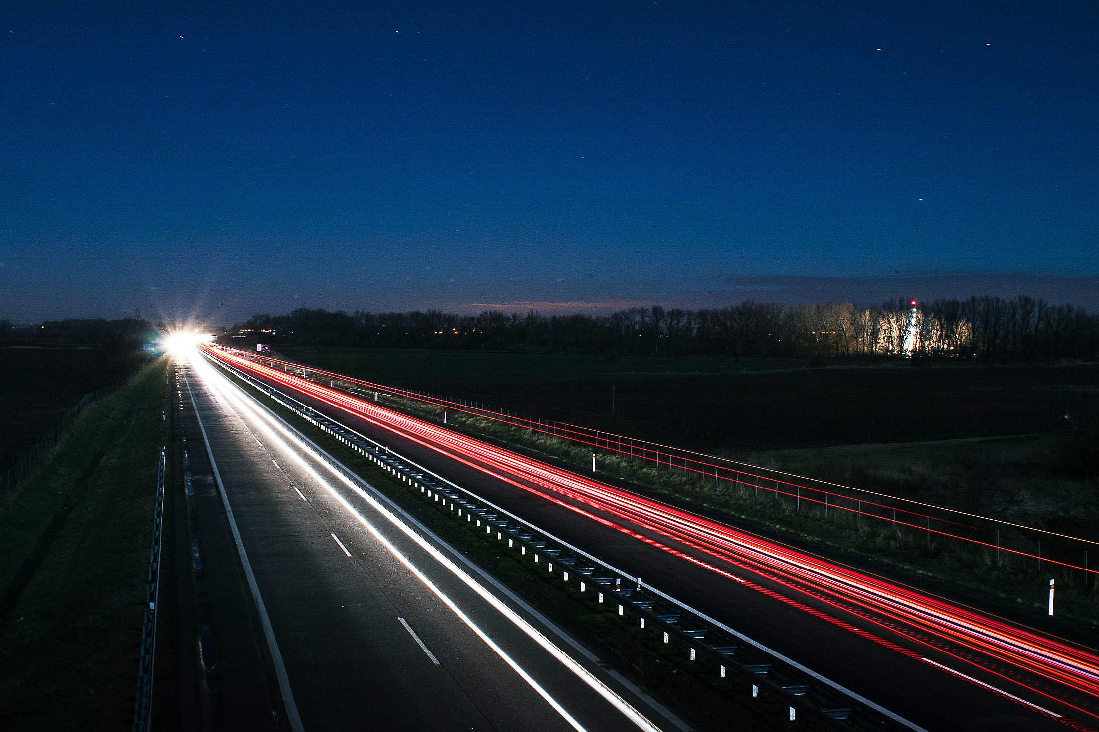 Highway at Night Free Stock Photo