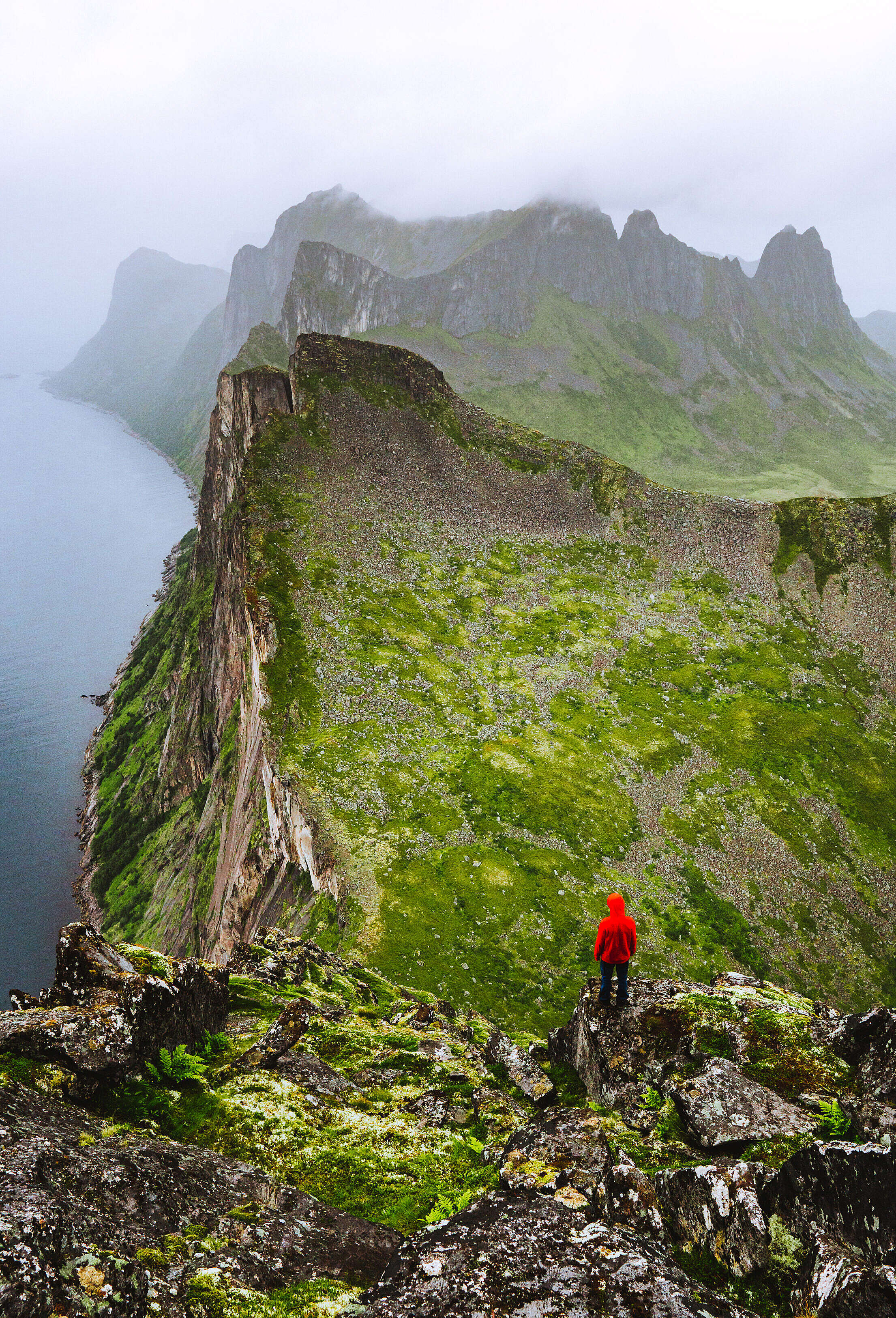 Hiker Enjoying the View on the Foggy Mountains Vertical Free Stock Photo