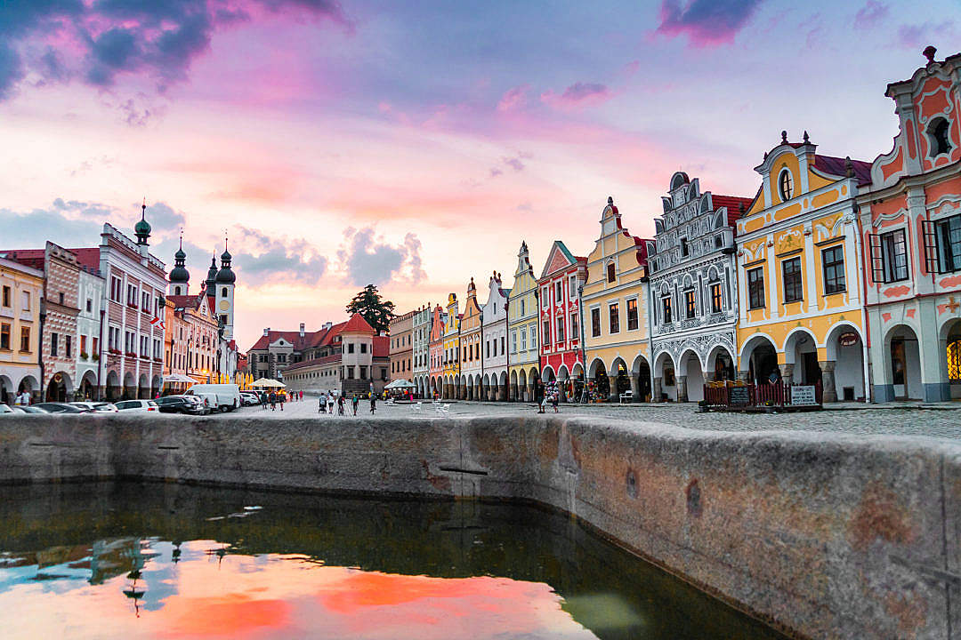 Download Historical Square in Telč at Sunset FREE Stock Photo