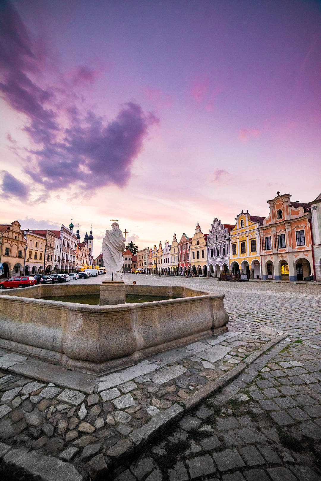 Download Historical Telč Square Fountain FREE Stock Photo