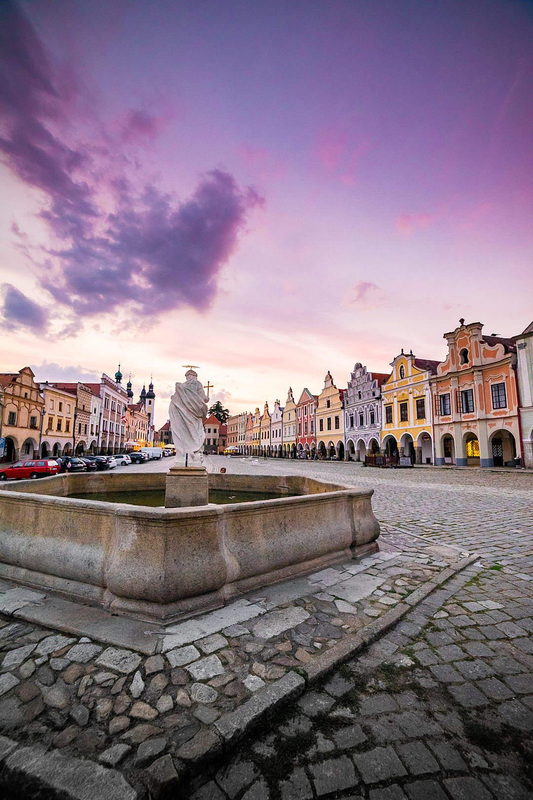 Download Historical Telč Square Fountain FREE Stock Photo