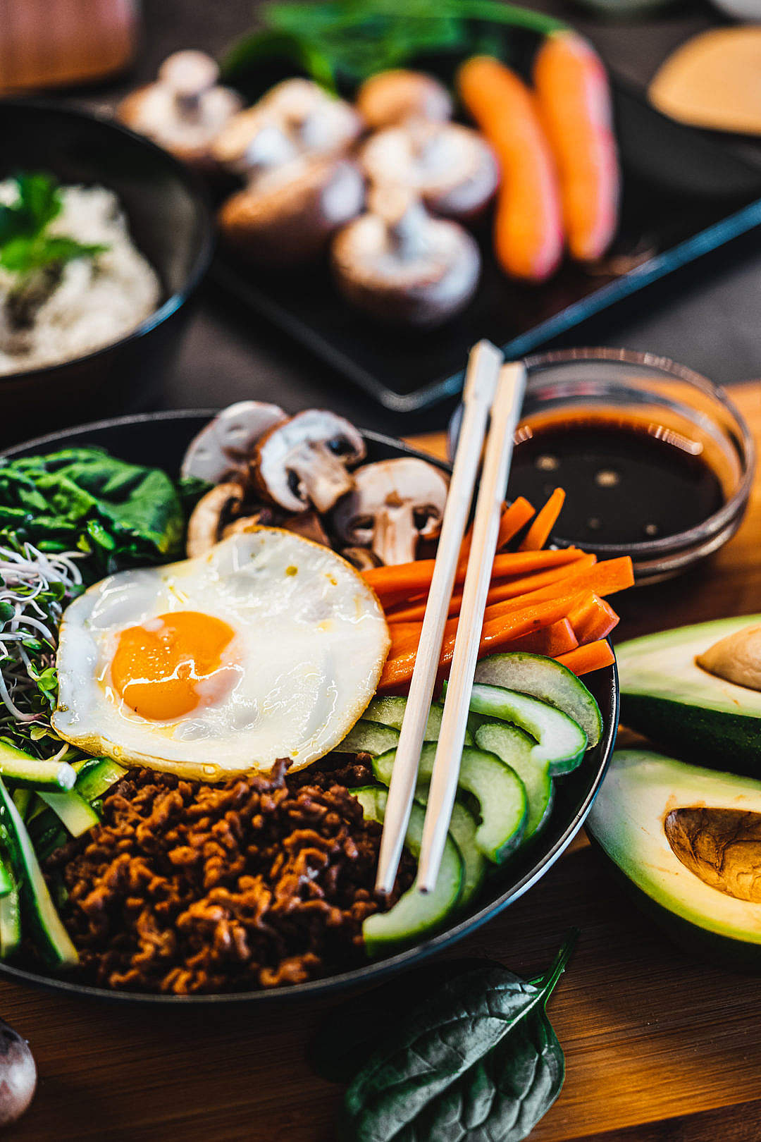 Download Homemade Bibimbap Rice Bowl FREE Stock Photo