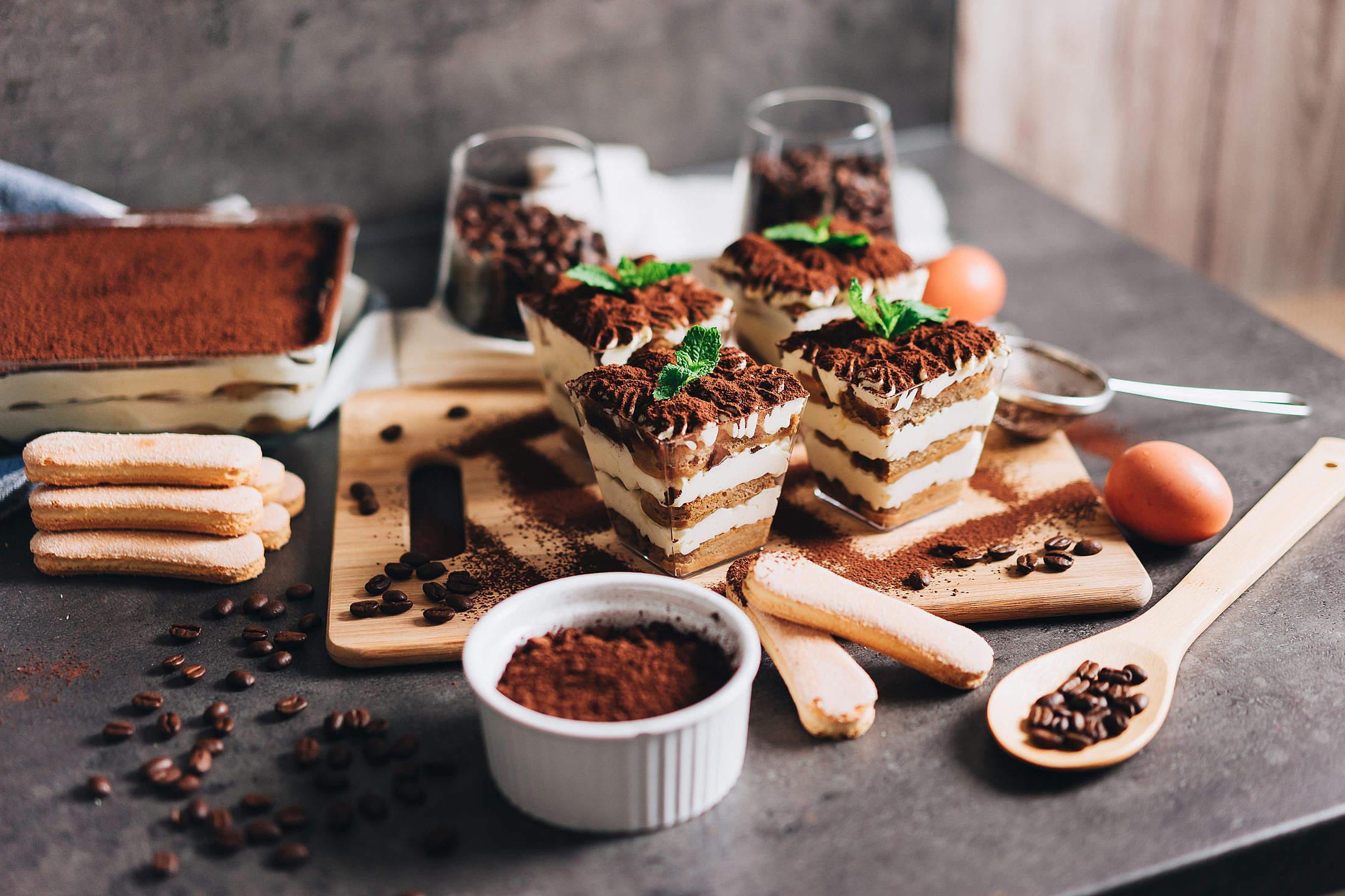 Homemade Dessert Tiramisu Served in Individual Glasses Free Stock Photo