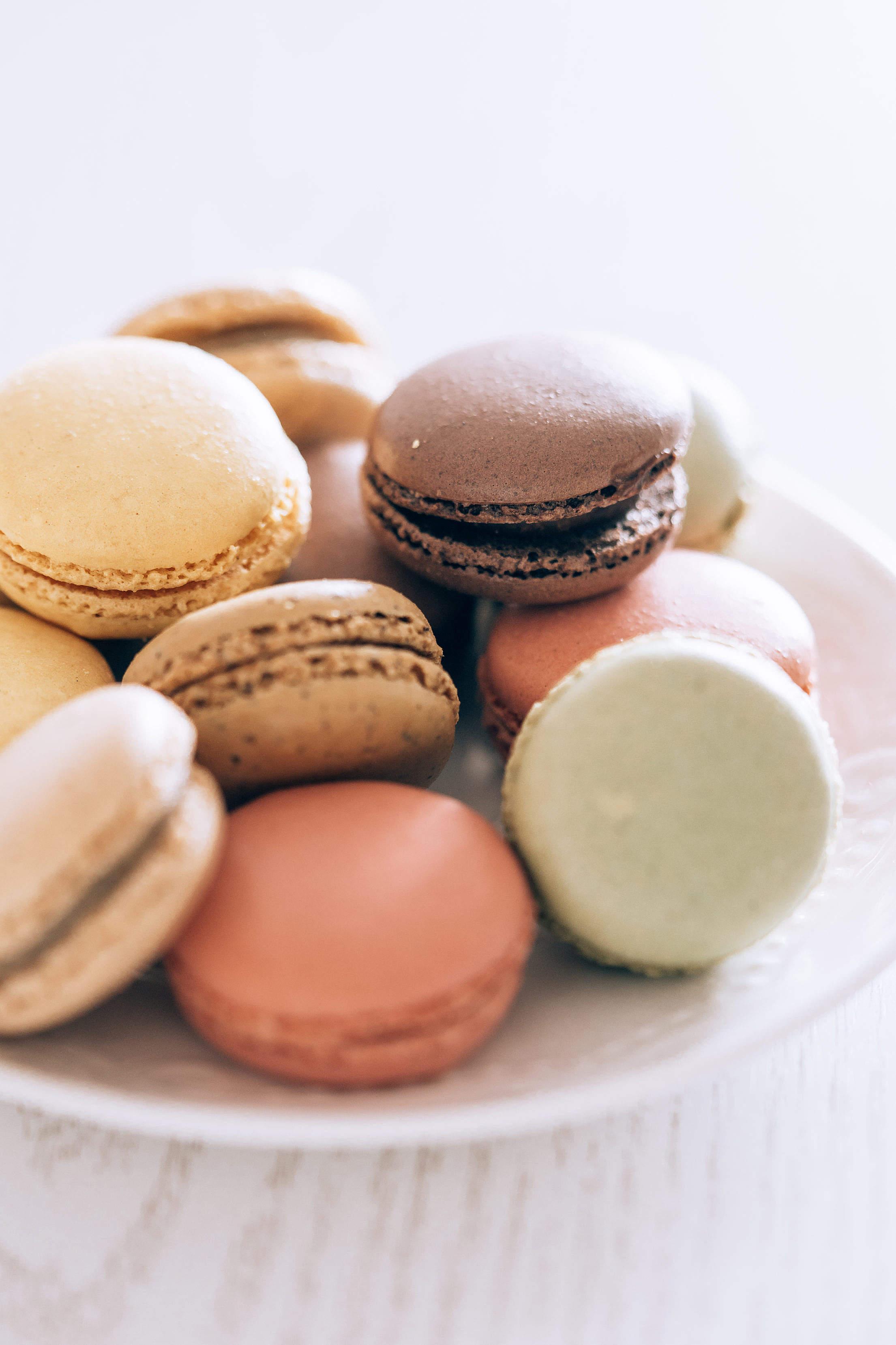 Homemade Macarons on a Plate Free Stock Photo