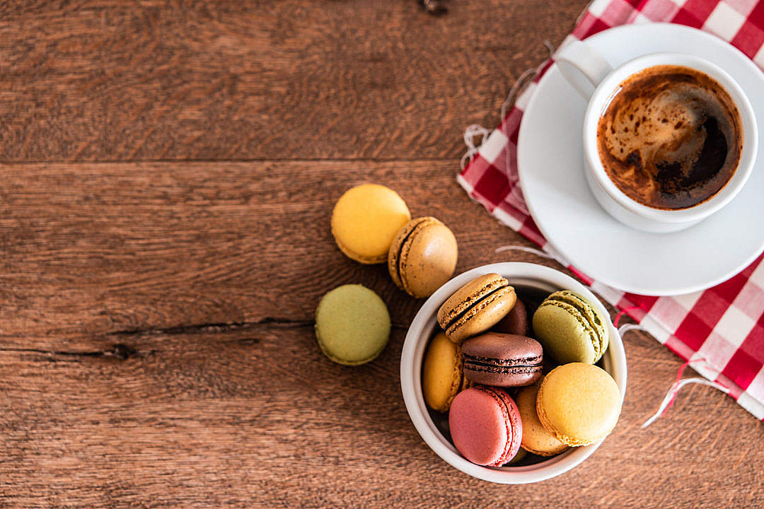 Download Homemade Macarons with a Cup of Coffee FREE Stock Photo