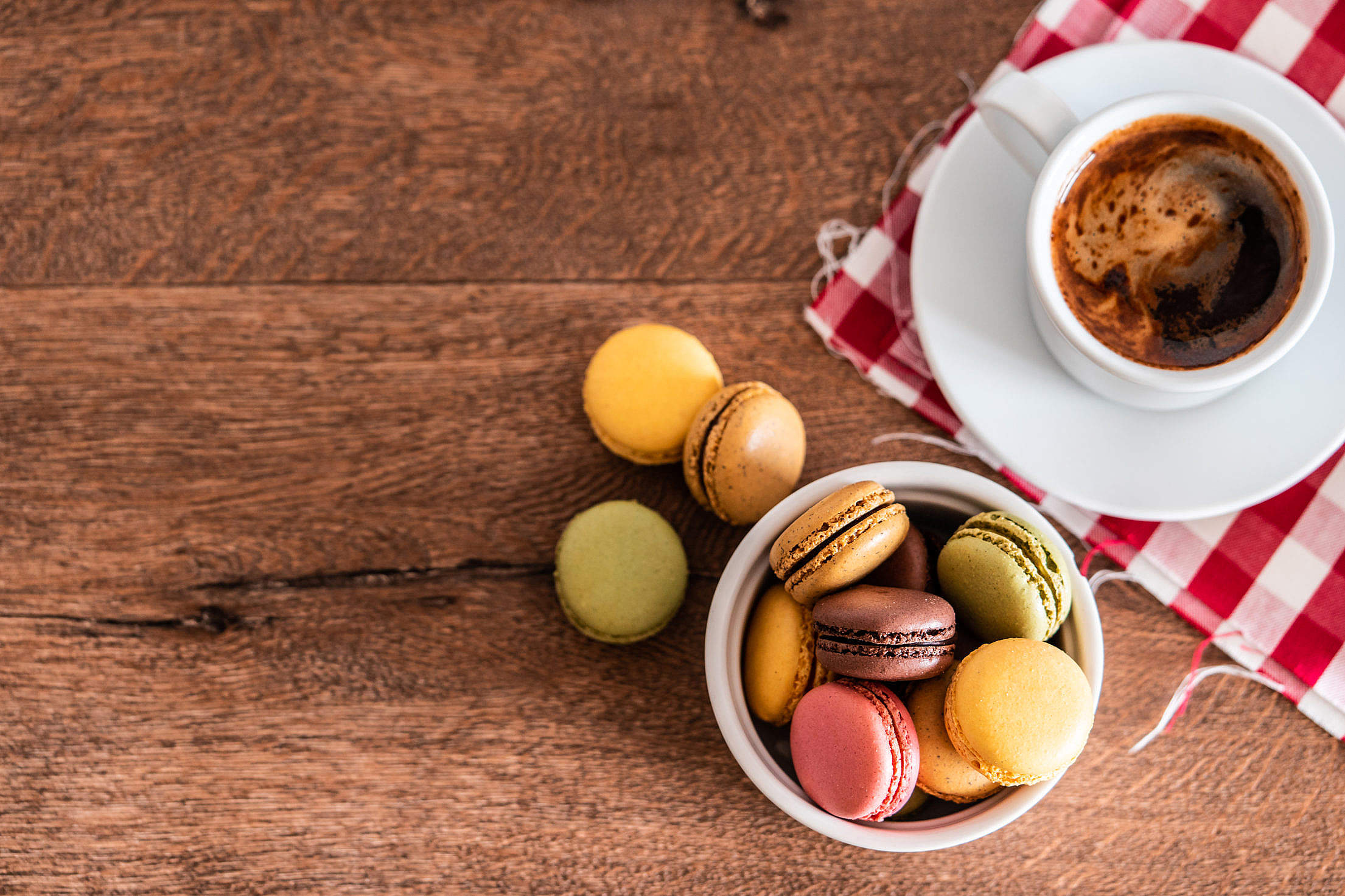 Homemade Macarons with a Cup of Coffee Free Stock Photo