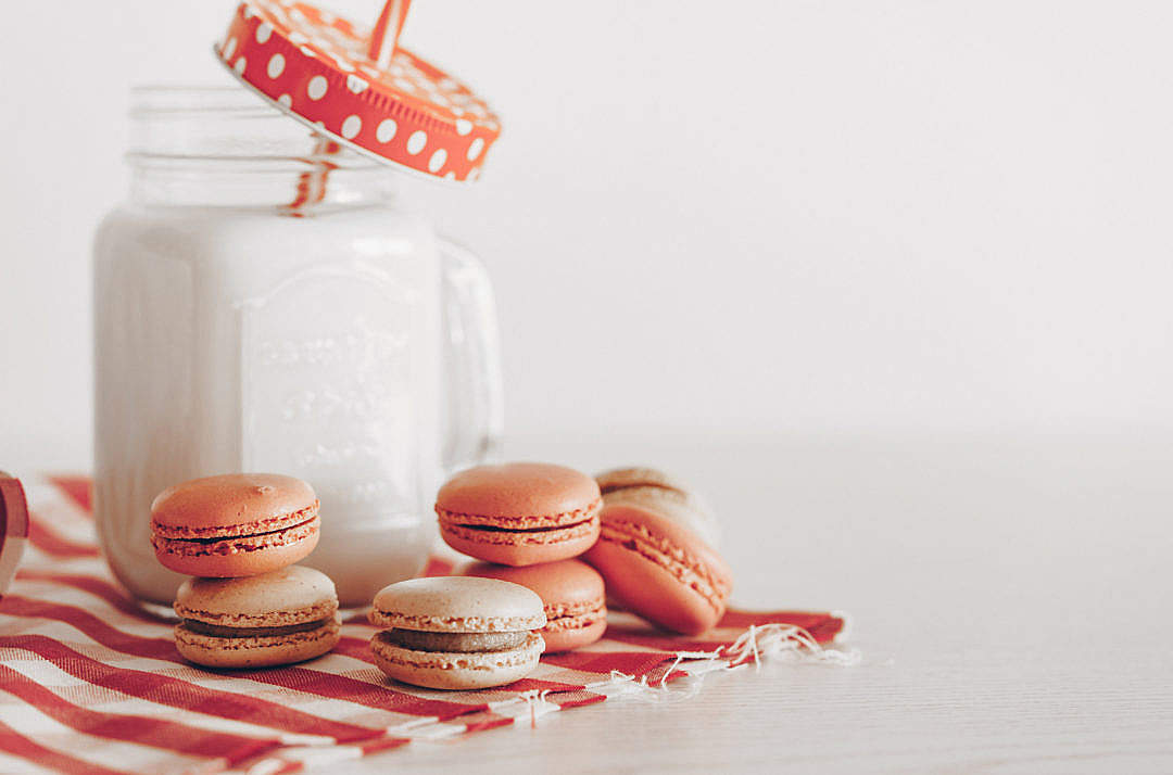 Download Homemade Macarons With a Glass of Milk FREE Stock Photo