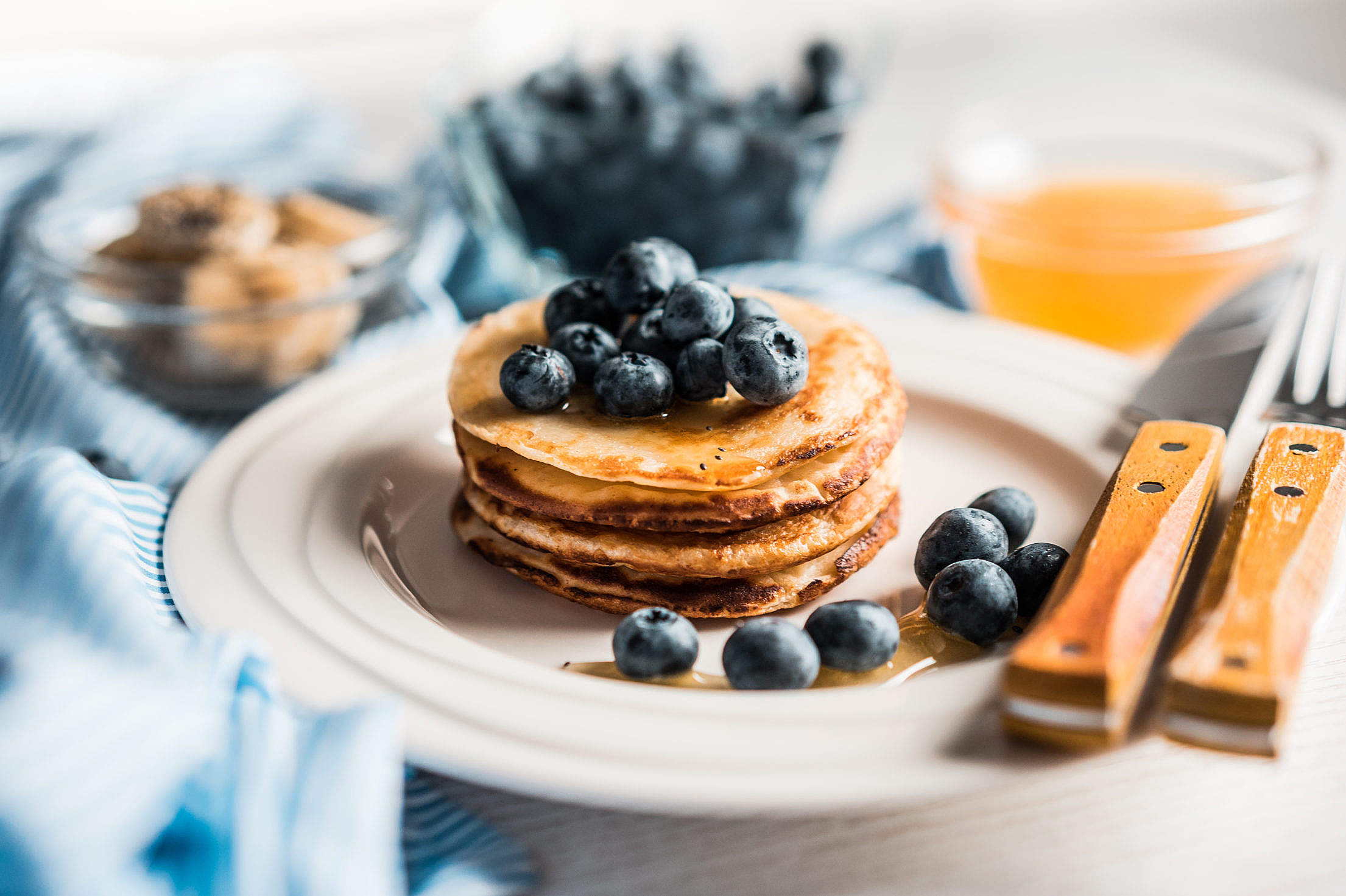 Homemade Pancakes with Blueberries Free Stock Photo