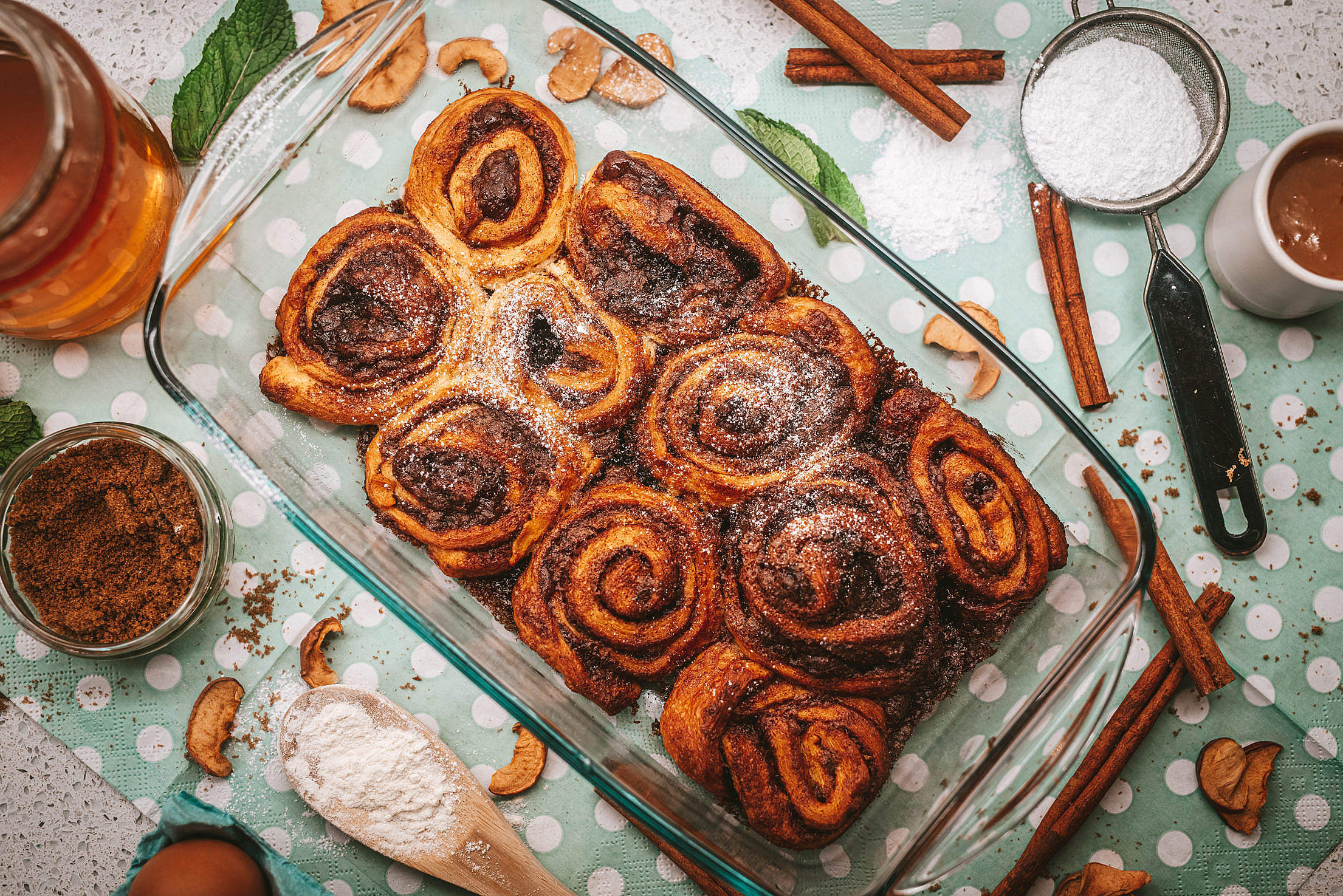 Homemade Pastry Cinnamon Swirls Free Stock Photo