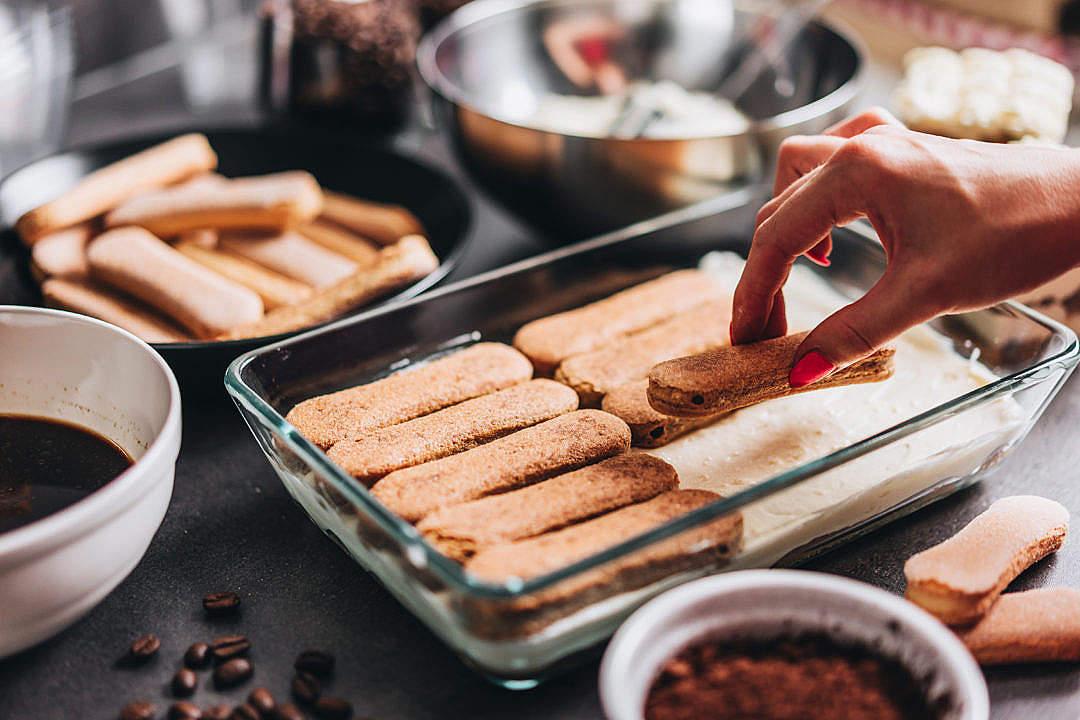Download Homemade Preparation of Italian Cake Tiramisu FREE Stock Photo