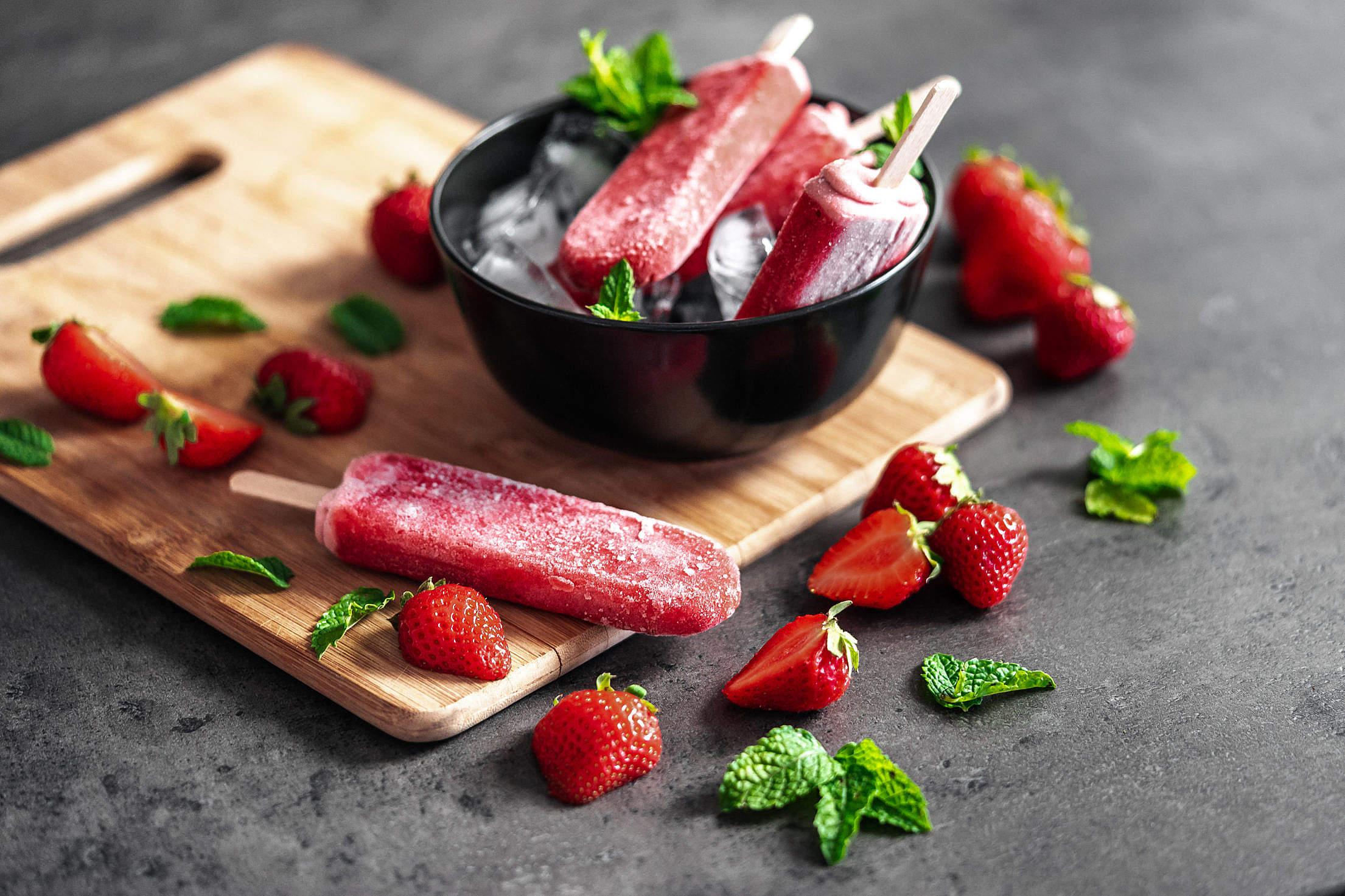 Homemade Vegan Strawberry Popsicles Free Stock Photo