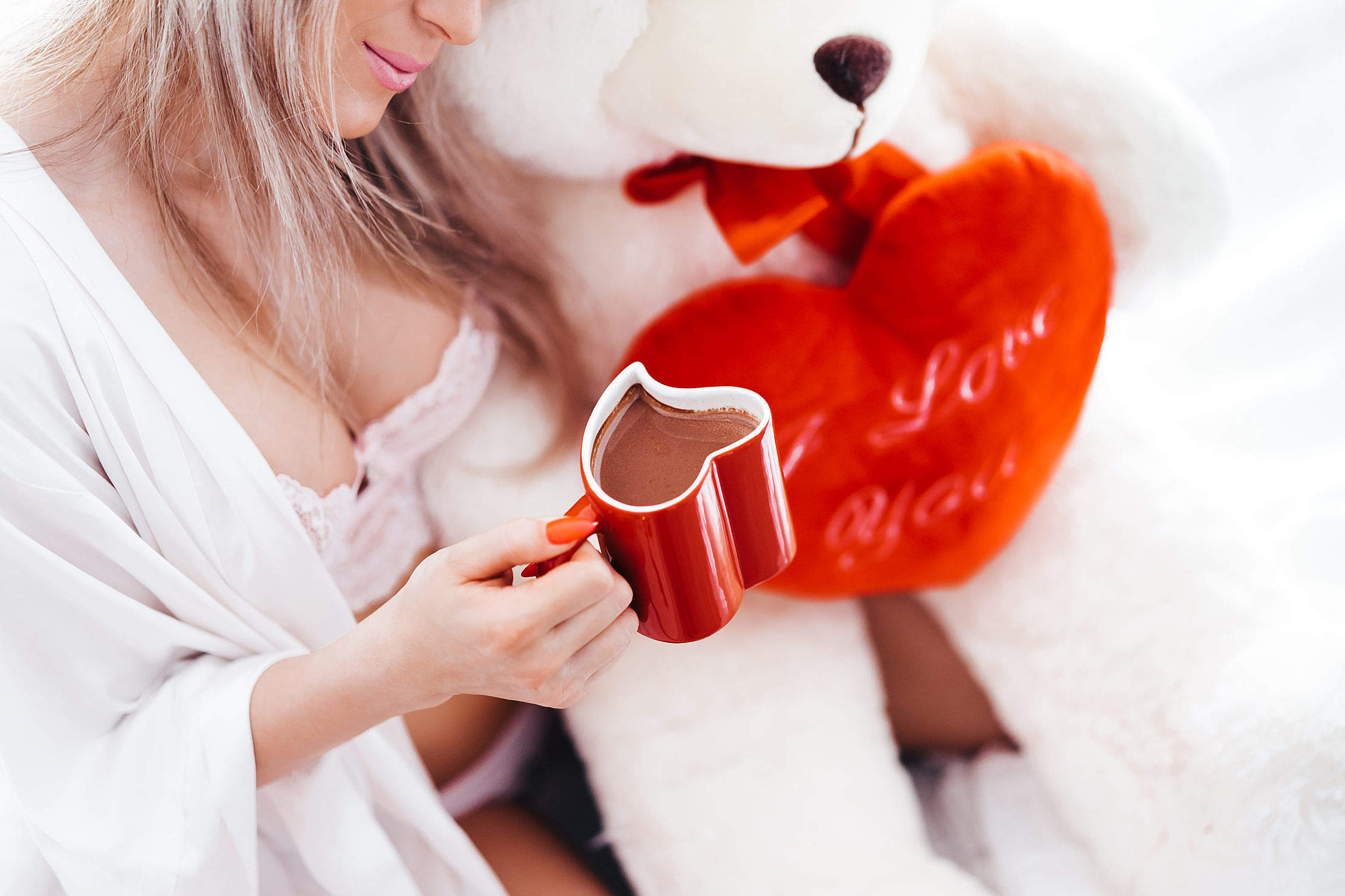 Hot Chocolate in a Heart Shaped Cup Free Stock Photo