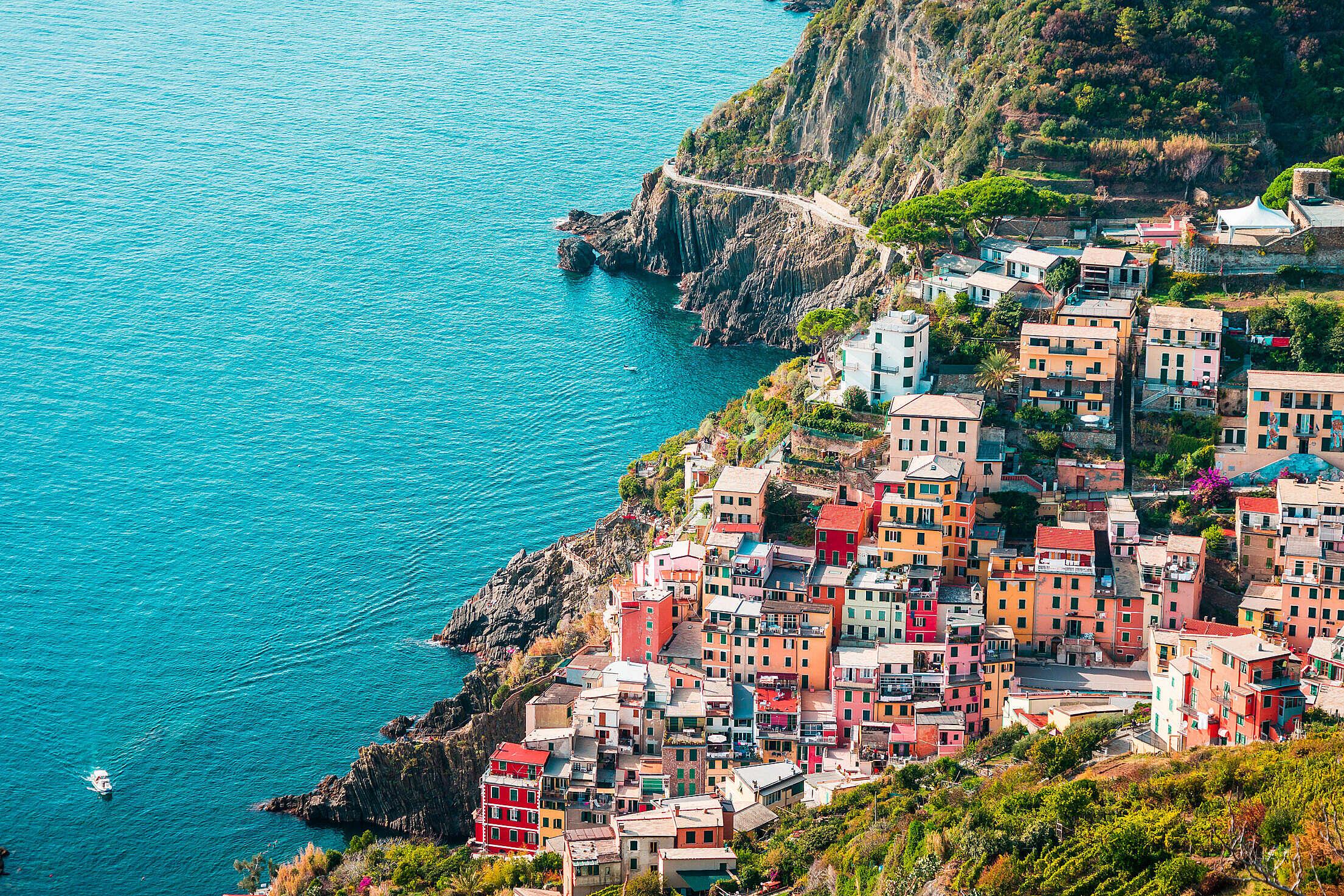 Houses in Riomaggiore, Cinque Terre, Italy Free Stock Photo