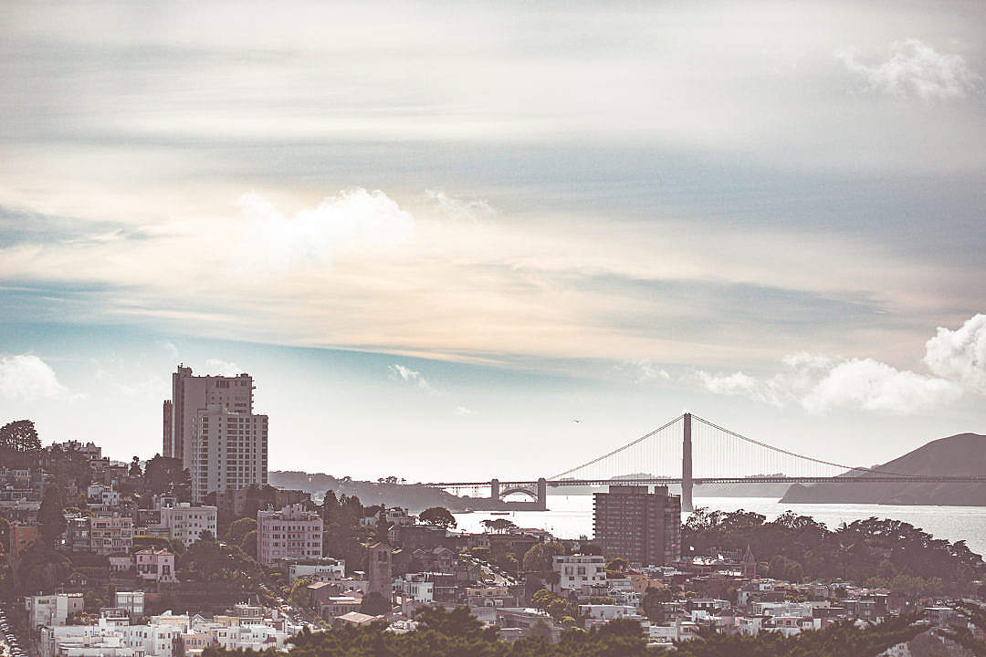 Download Houses of San Francisco Bay with Golden Gate Bridge Scenery FREE Stock Photo