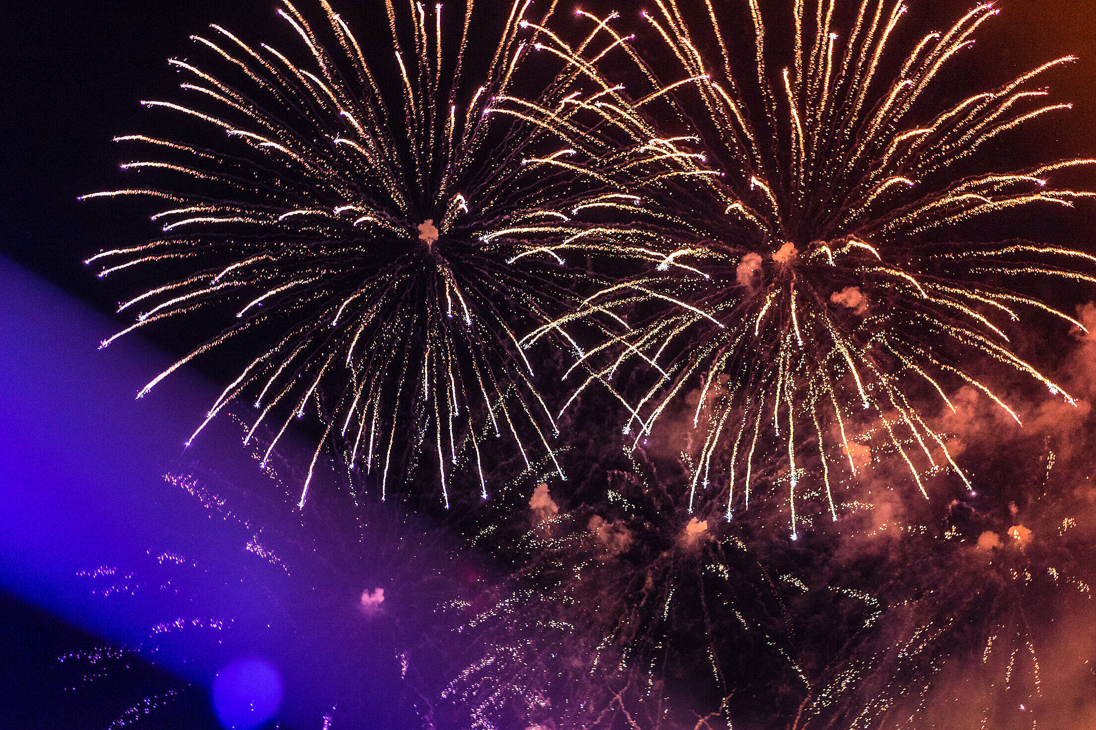 Huge Colorful Fireworks Pyrotechnics Against Black Night Sky Free Stock Photo