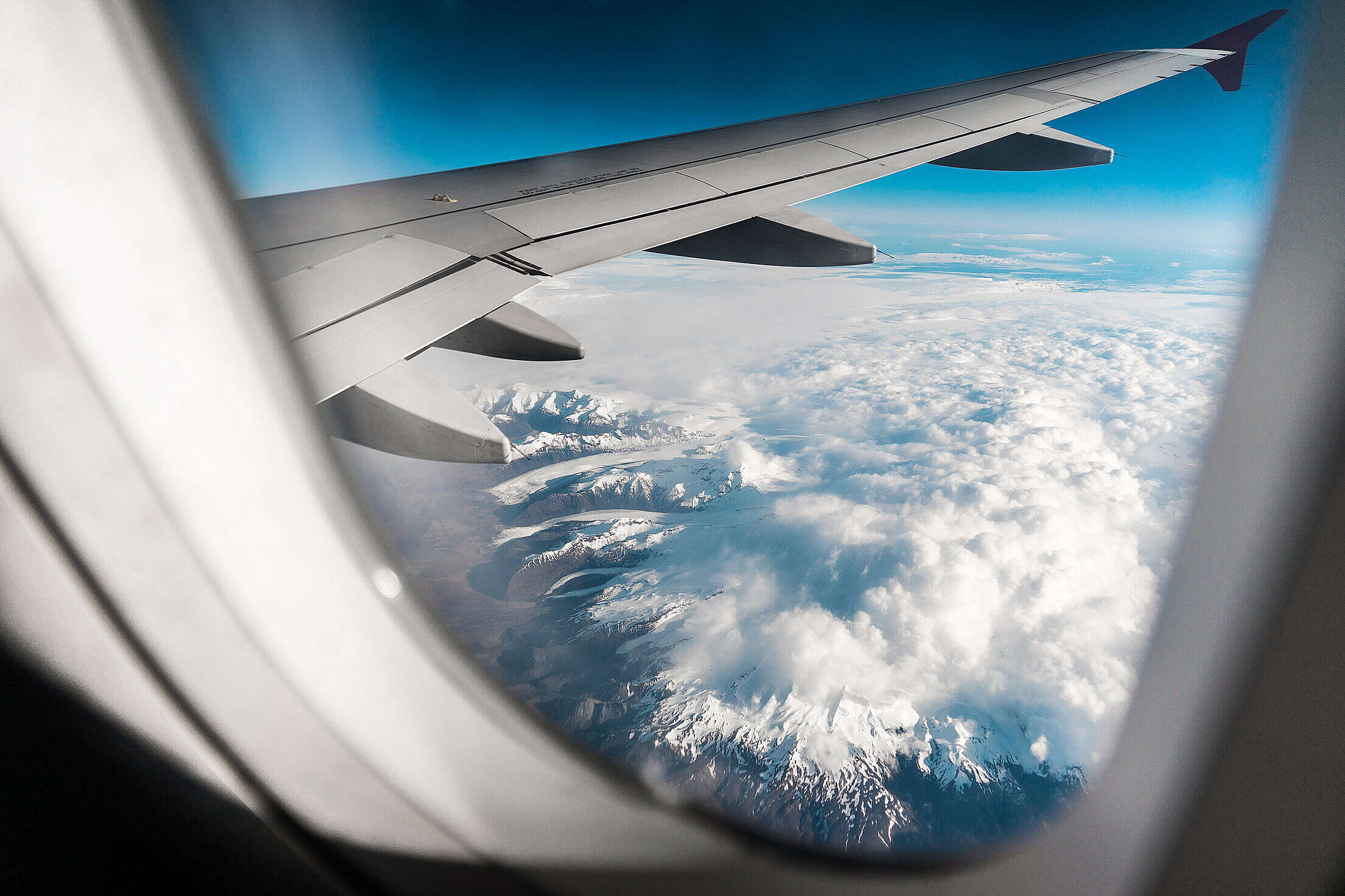 Icelandic Mountains and Glaciers from Airplane Free Stock Photo