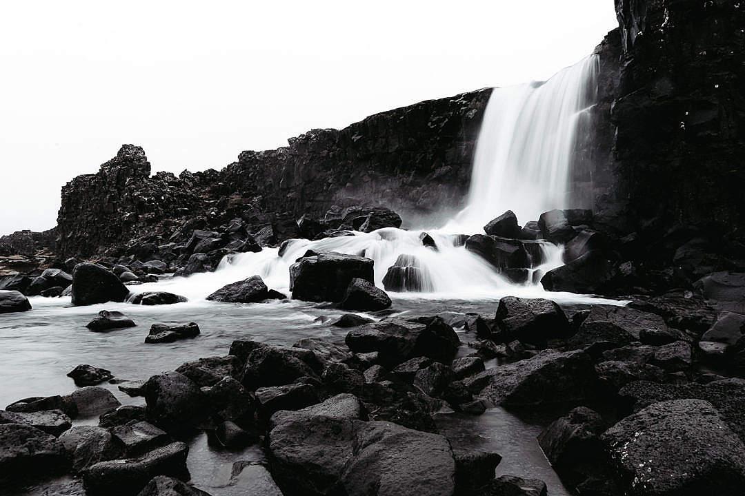 Download Icelandic Öxarárfoss Waterfall with Black Rocks FREE Stock Photo