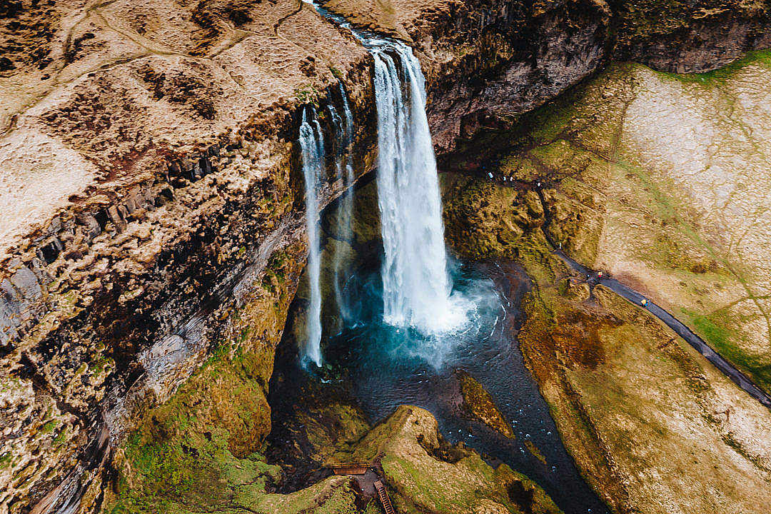 Download Icelandic Seljalandsfoss Waterfall from Above FREE Stock Photo