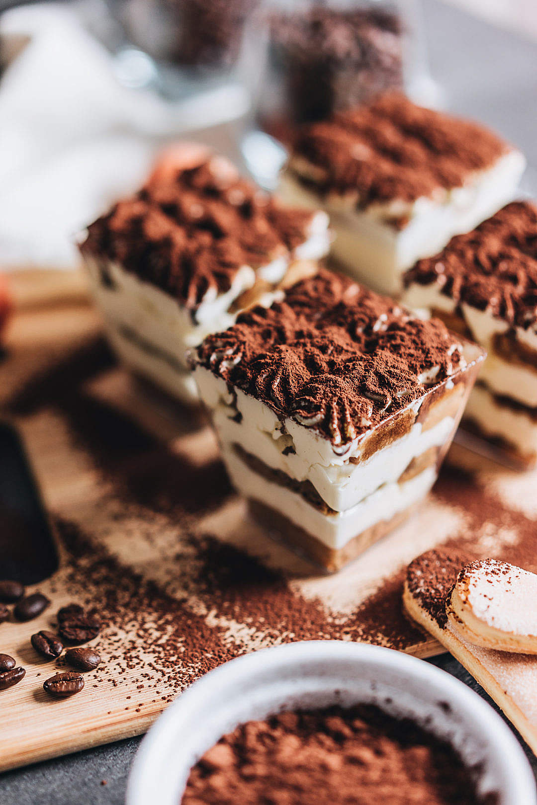 Download Individual Tiramisu Desserts FREE Stock Photo