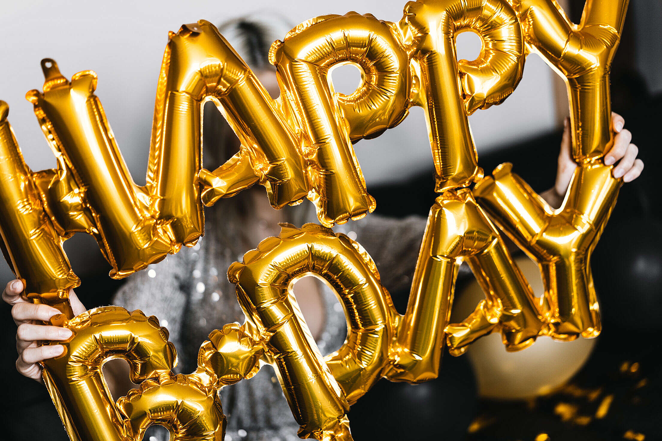 Inflatable Happy Birthday Balloons Free Stock Photo