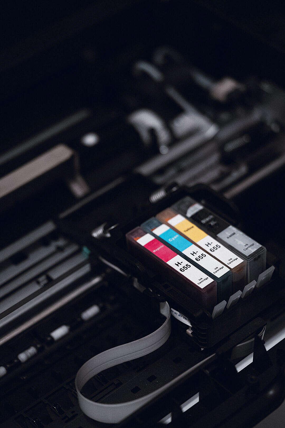 Download Ink Cartridges in Printer FREE Stock Photo