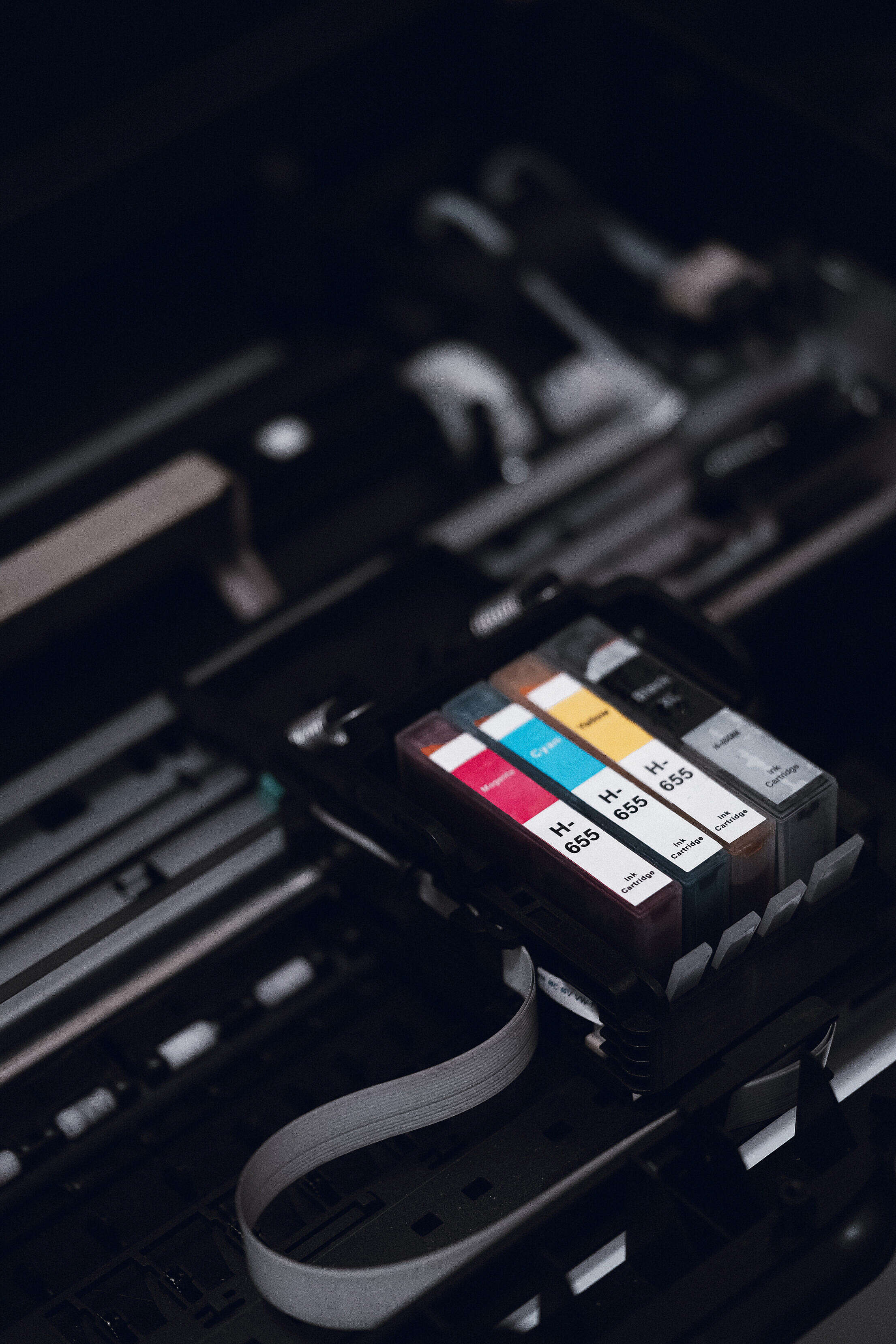 Ink Cartridges in Printer Free Stock Photo
