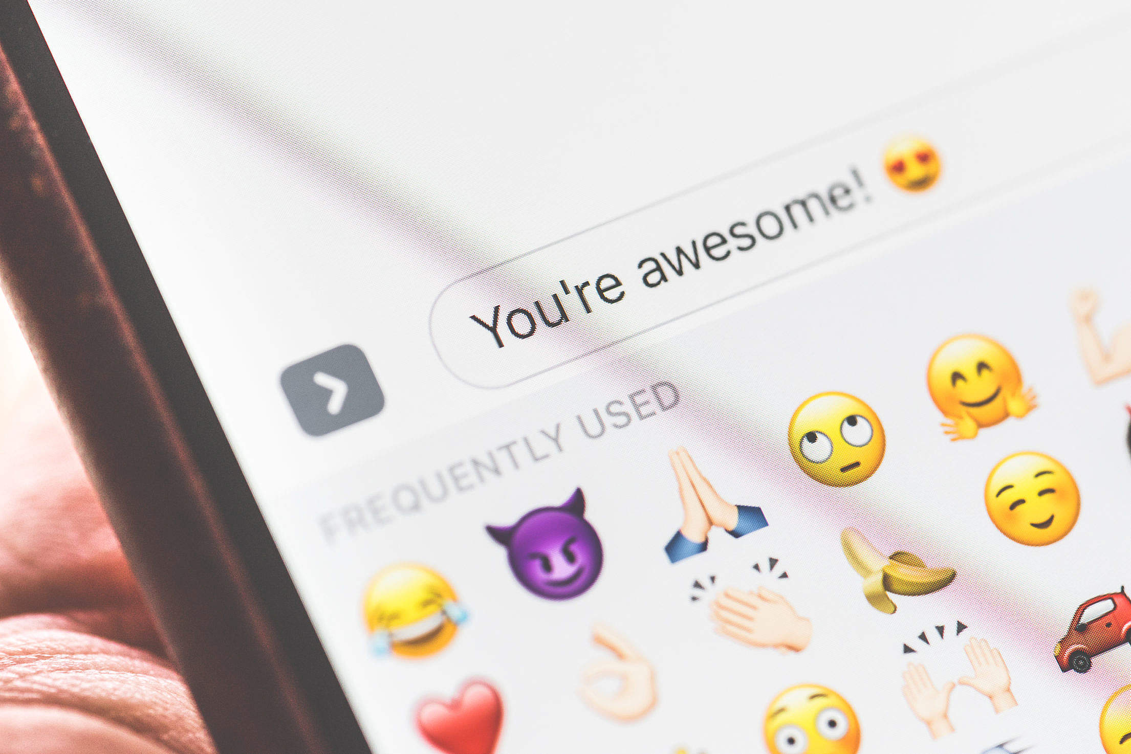 iPhone Emoji Smartphone Messaging App Close Up Free Stock Photo