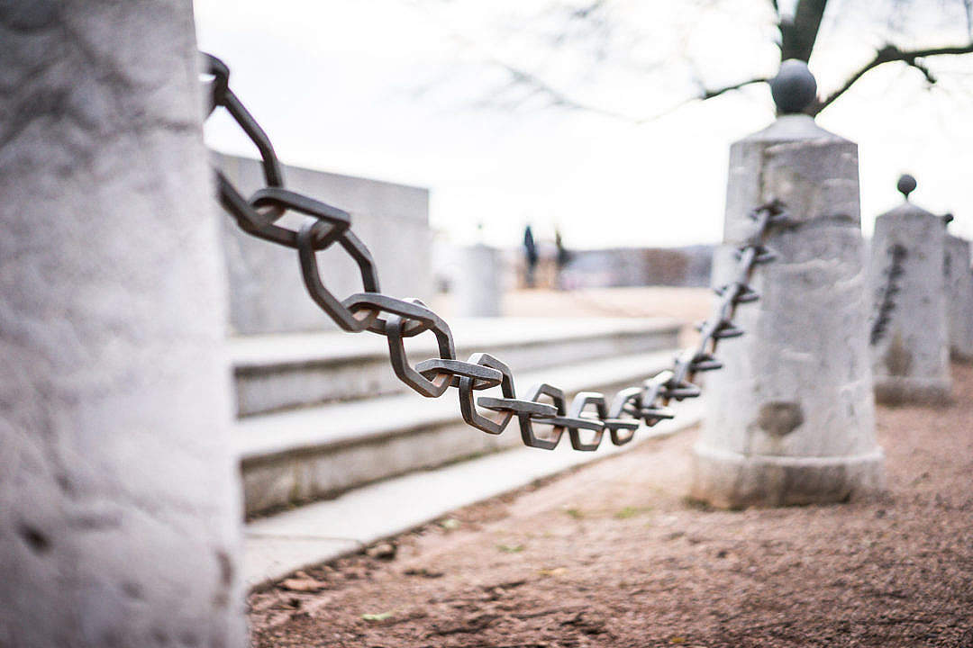 Download Iron Chain Around Historic Monument FREE Stock Photo