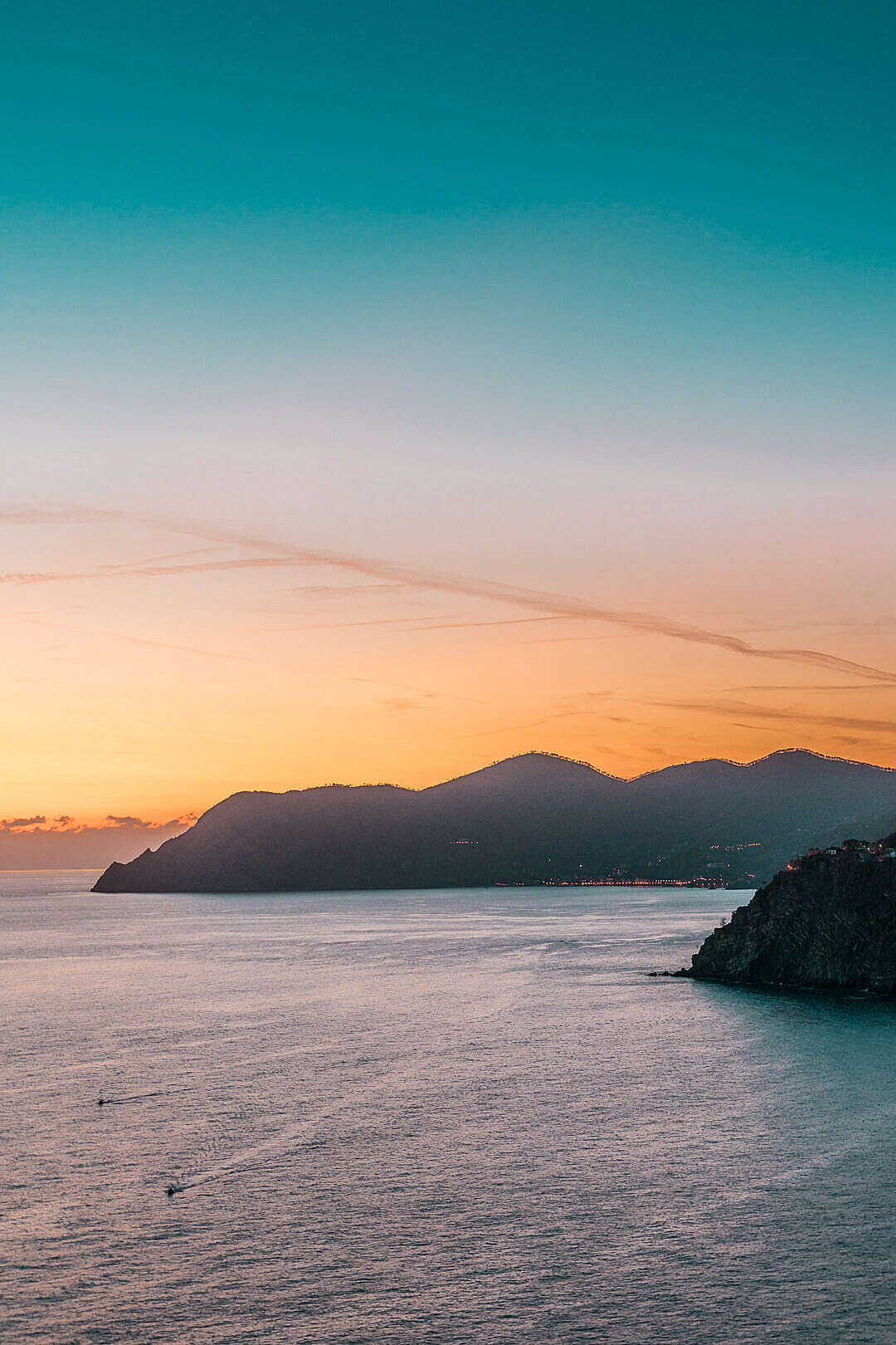 Download Italian Coastline in Sunset FREE Stock Photo