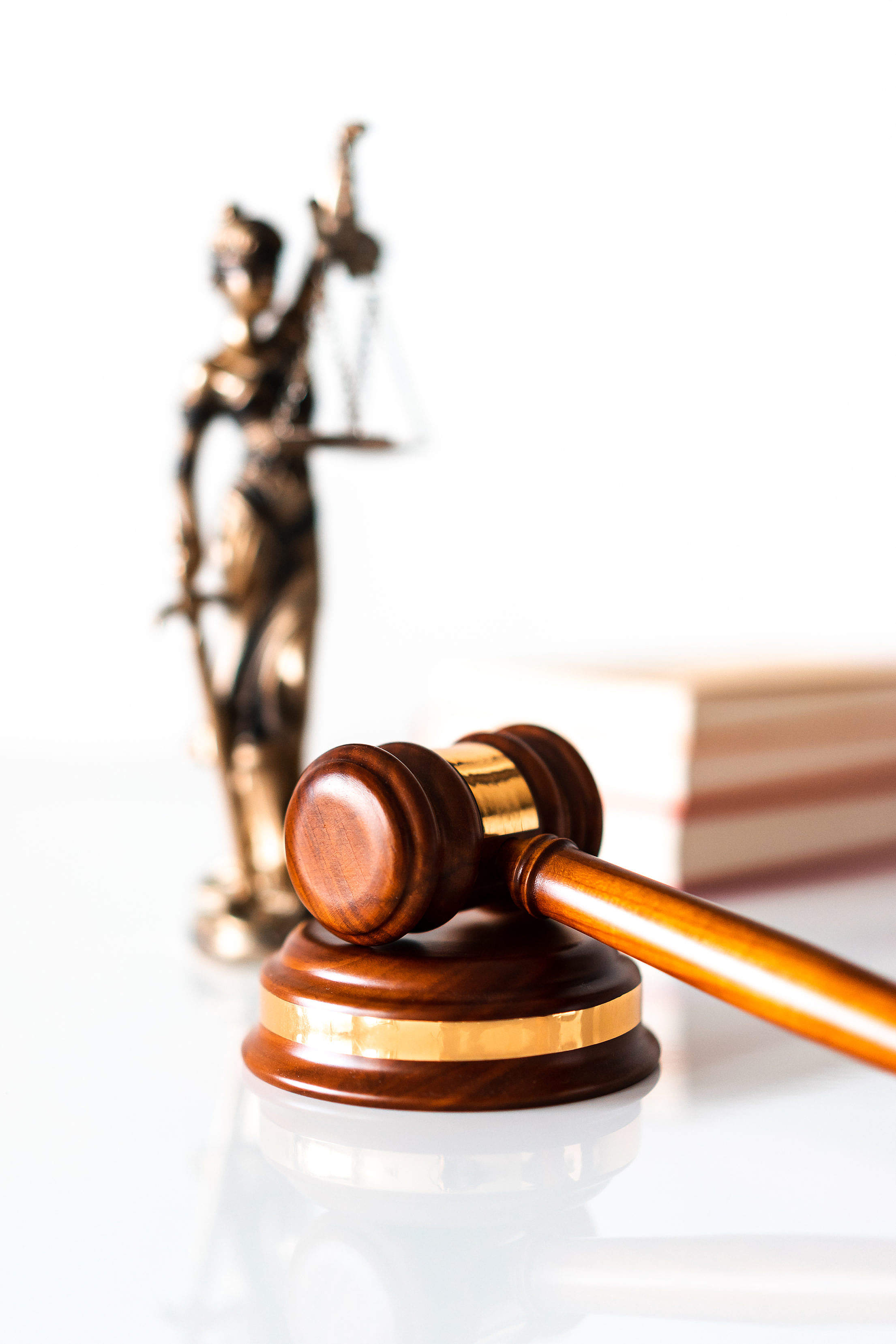 Judge Hammer and Blind Lady Justice Statue Free Stock Photo