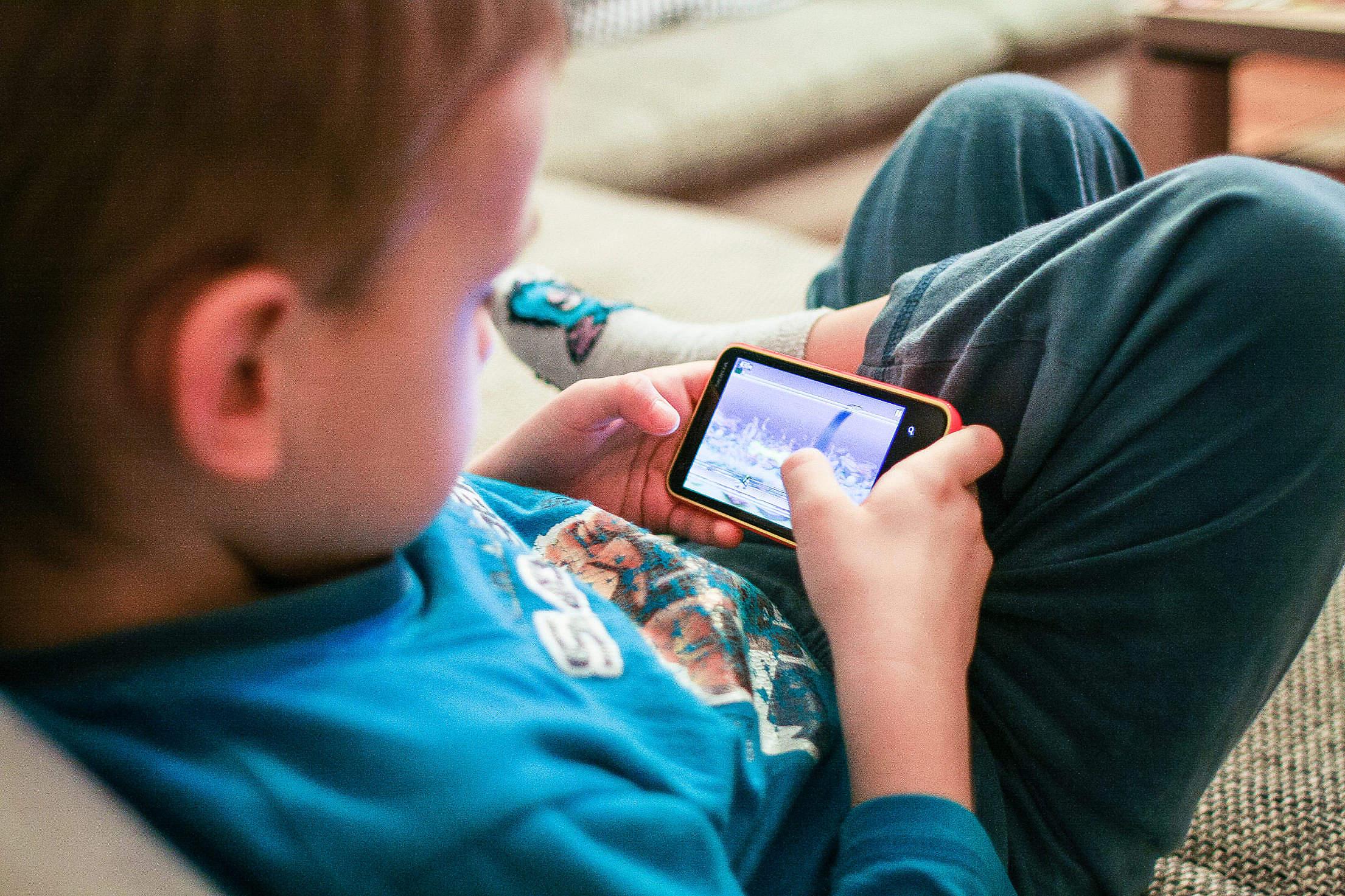 Kids Like Mobile Games Free Stock Photo
