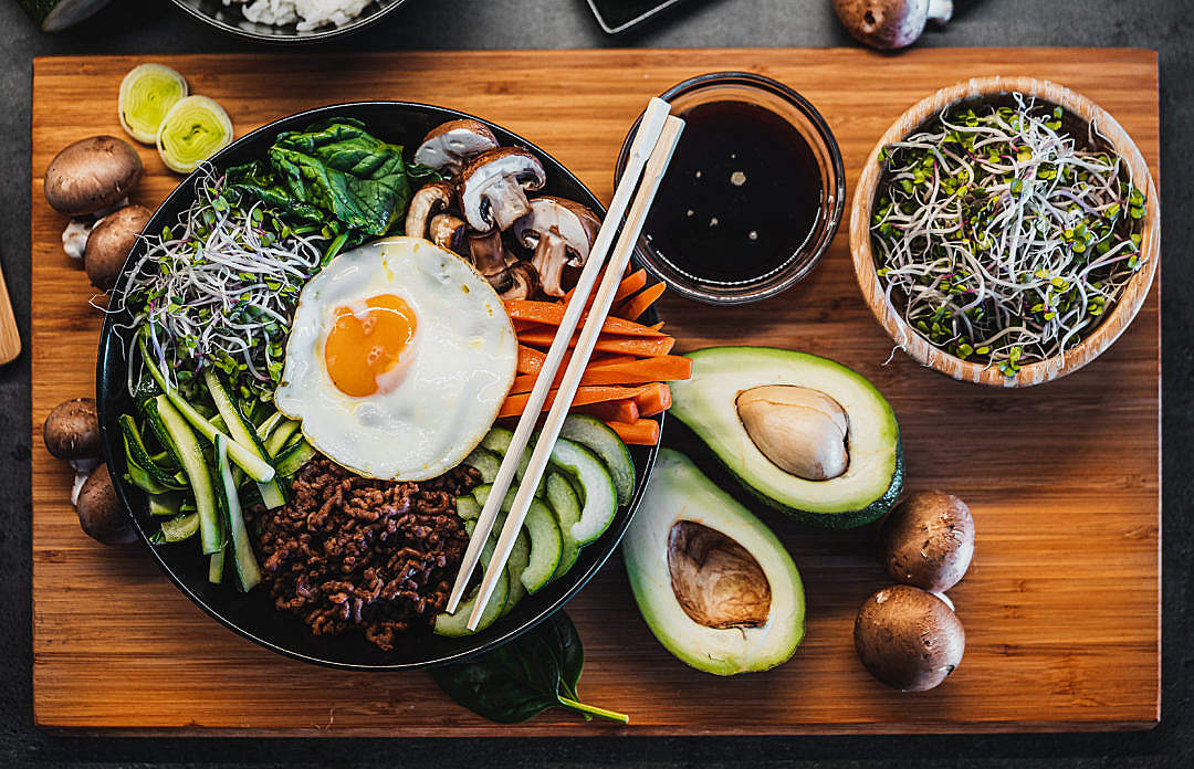Download Korean Bibimbap Flatlay FREE Stock Photo