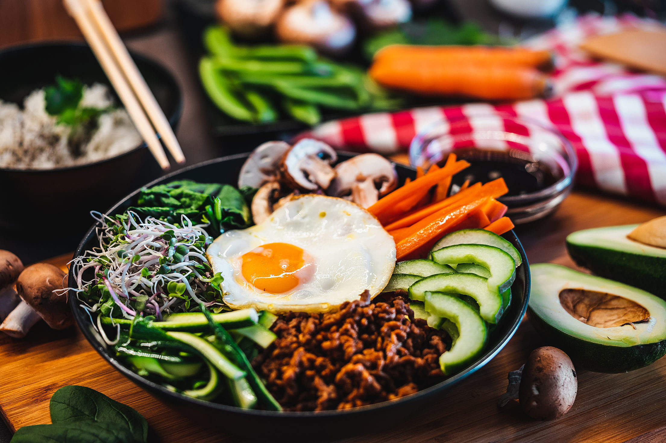 Korean Bibimbap Rice Dish Topped with a Fried Egg Free Stock Photo