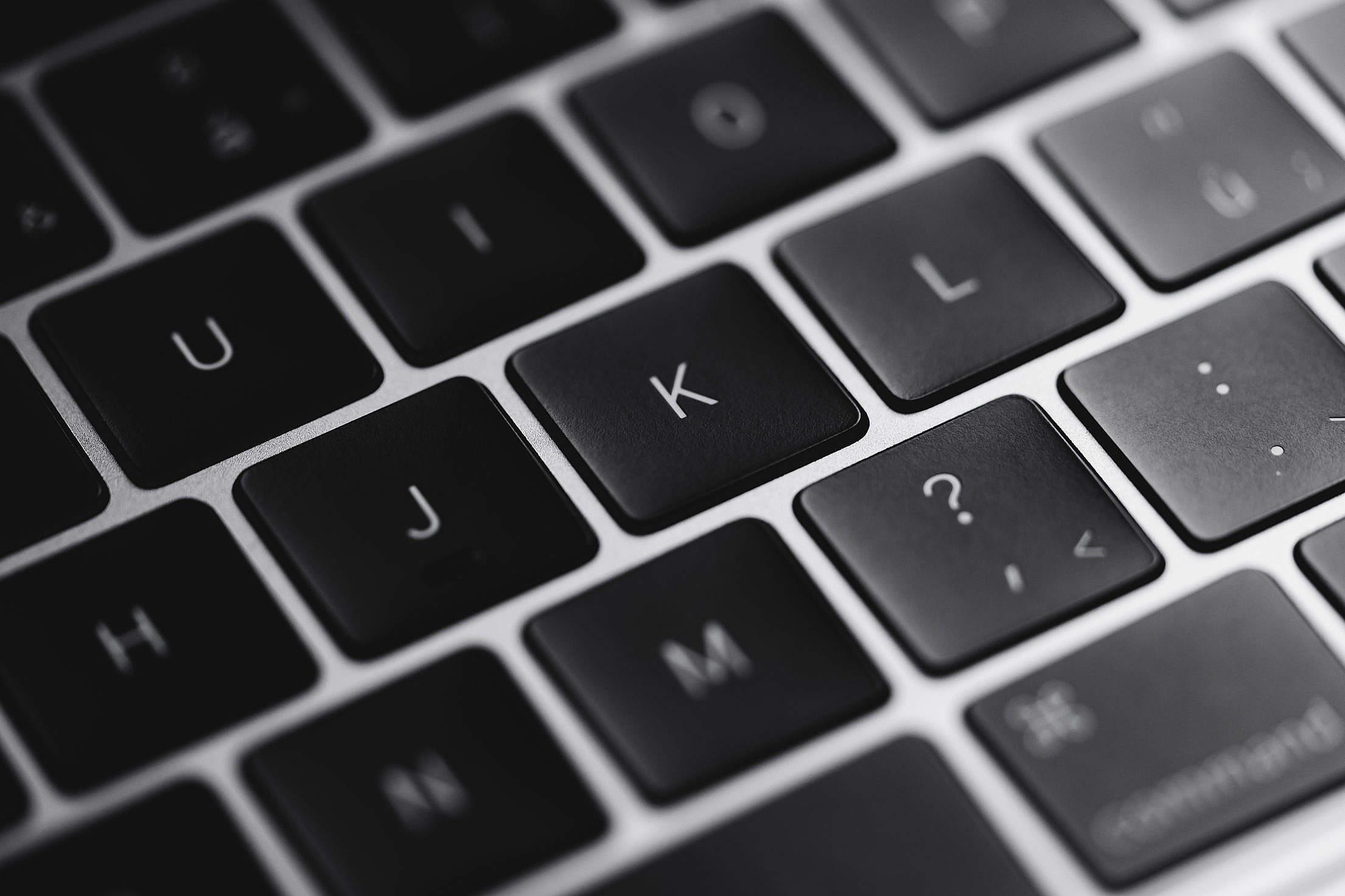 Download Laptop Keyboard Keys Close Up Free Stock Photo