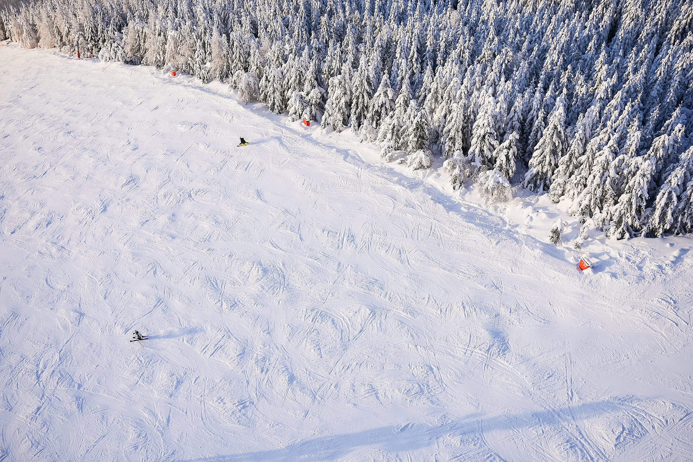 Large Ski Slope with Skiers From Above Free Stock Photo
