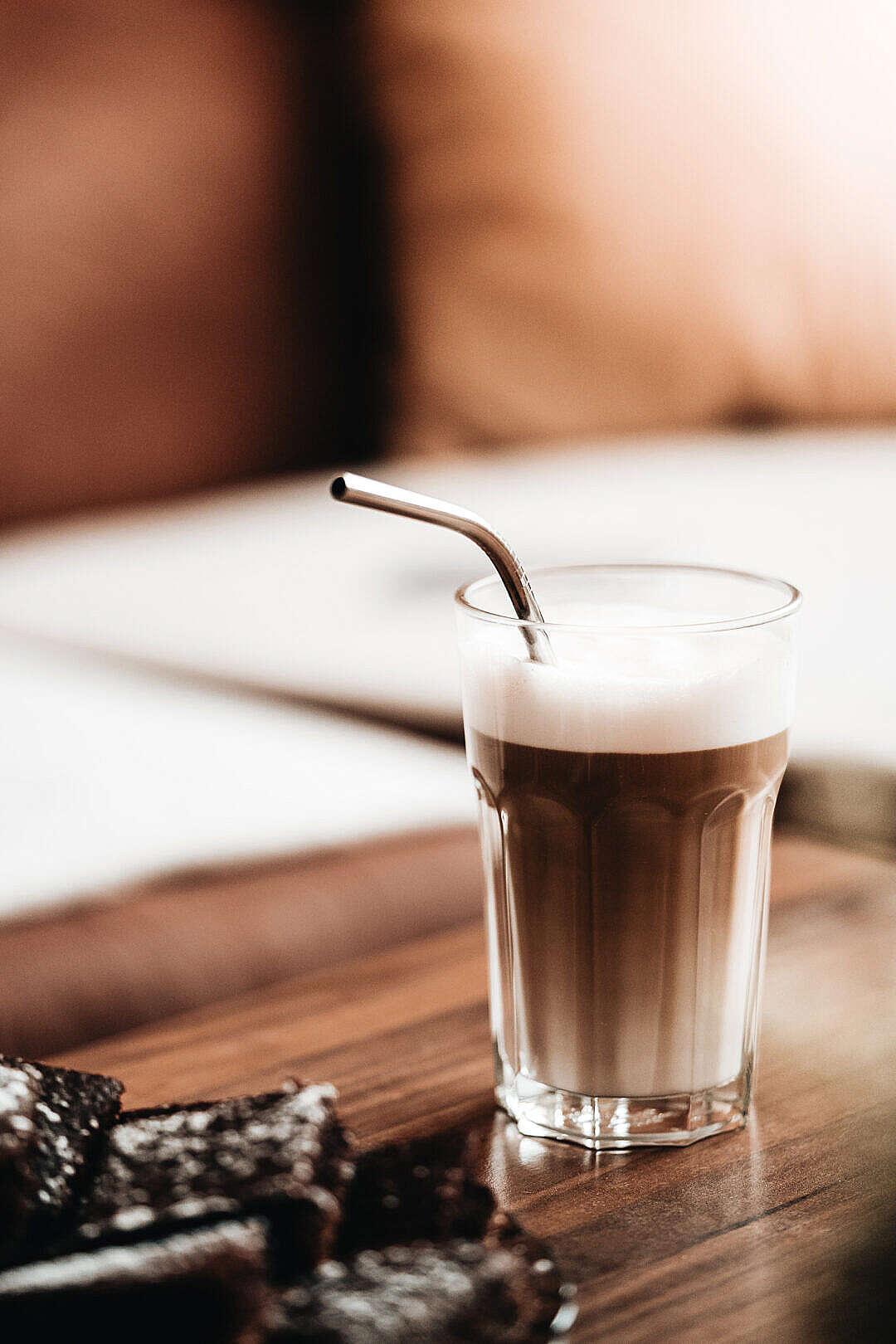 Download Glass of Latte Macchiato FREE Stock Photo