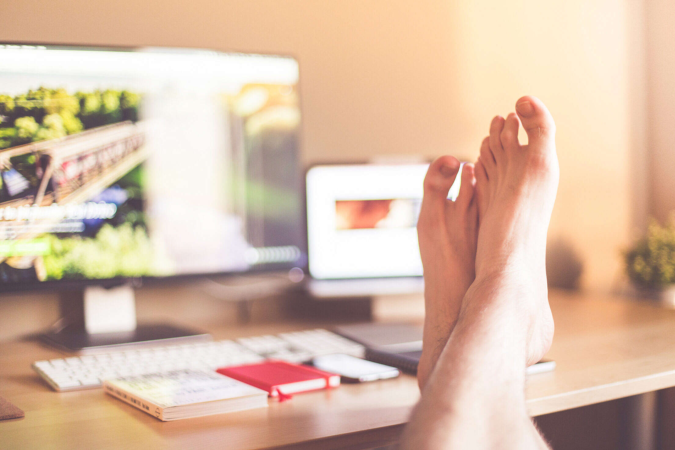 Legs on The Table: All Work Done! Free Stock Photo